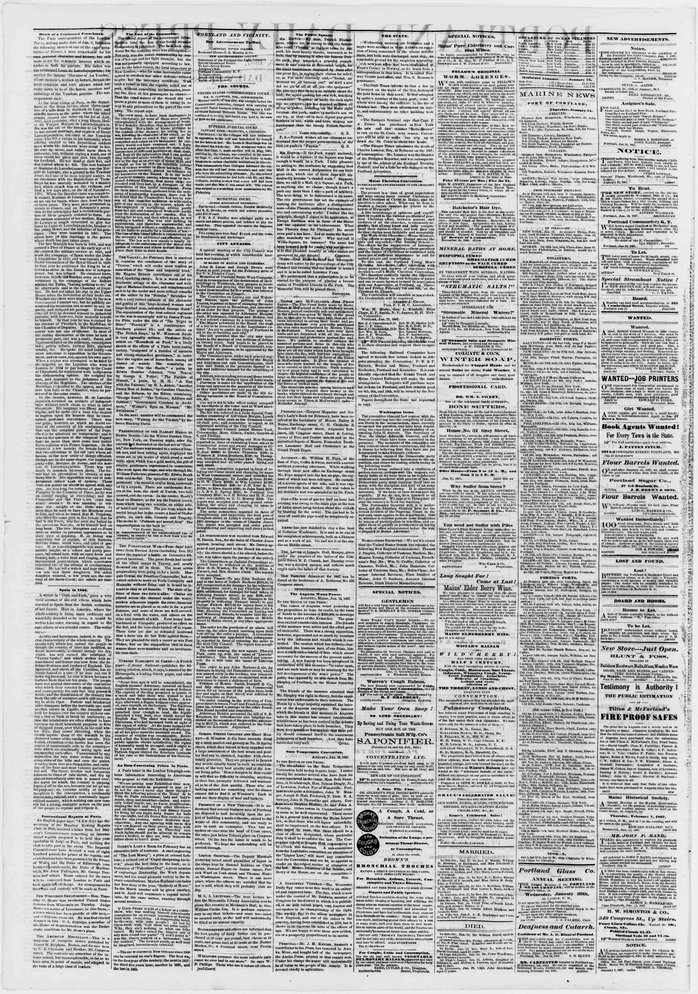 Newspaper of Portland Daily Press dated January 25, 1867 Page 2