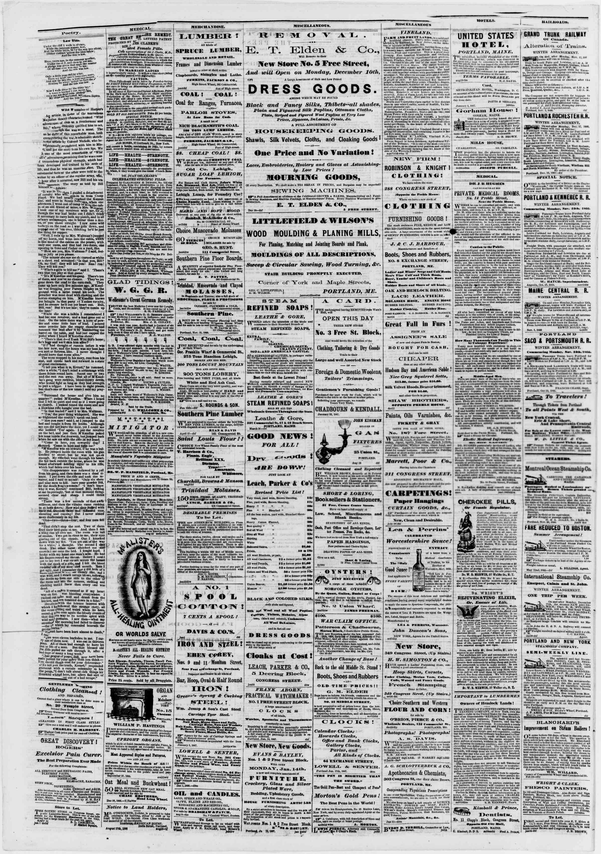 Newspaper of Portland Daily Press dated January 25, 1867 Page 4