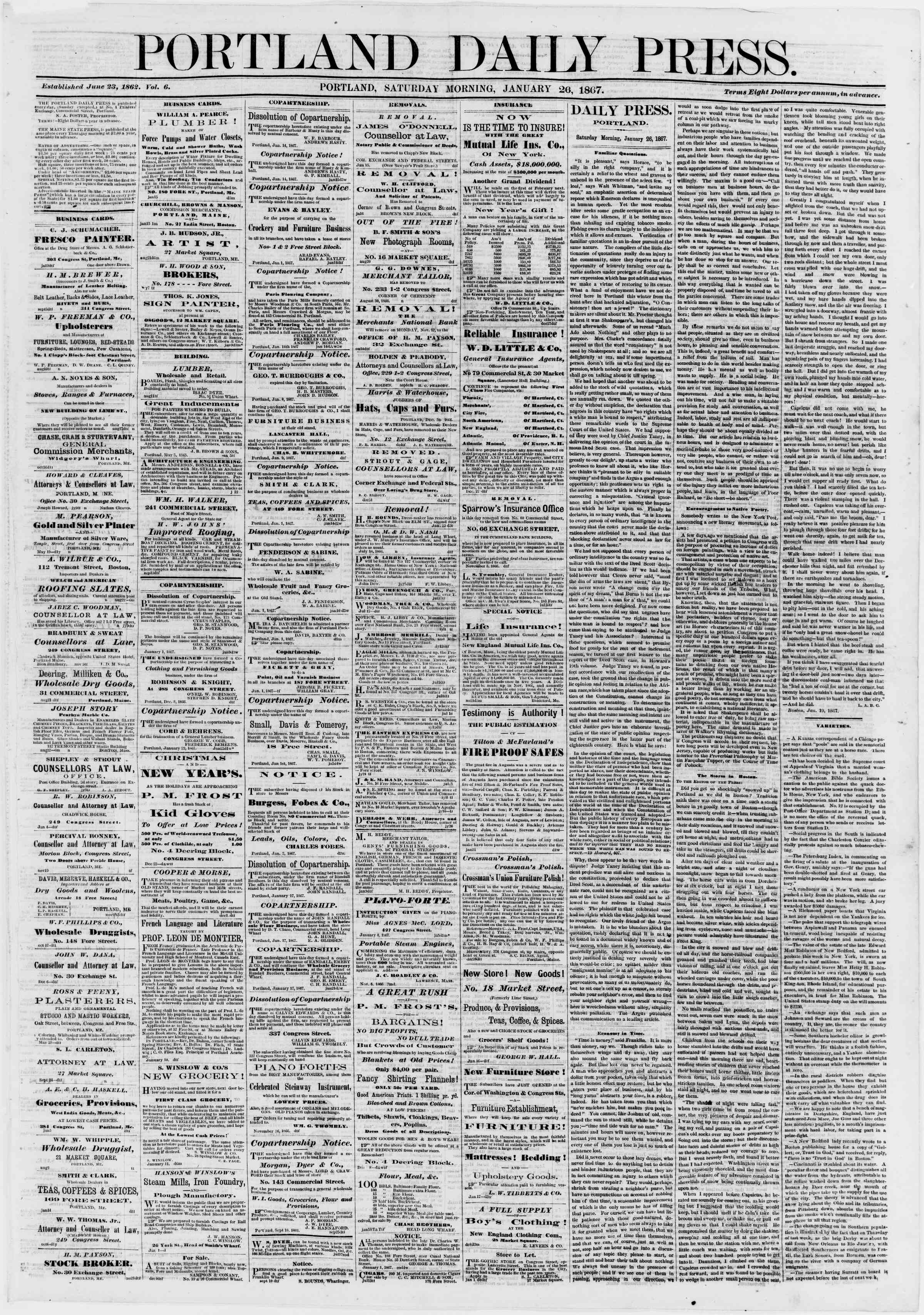 Newspaper of Portland Daily Press dated January 26, 1867 Page 1