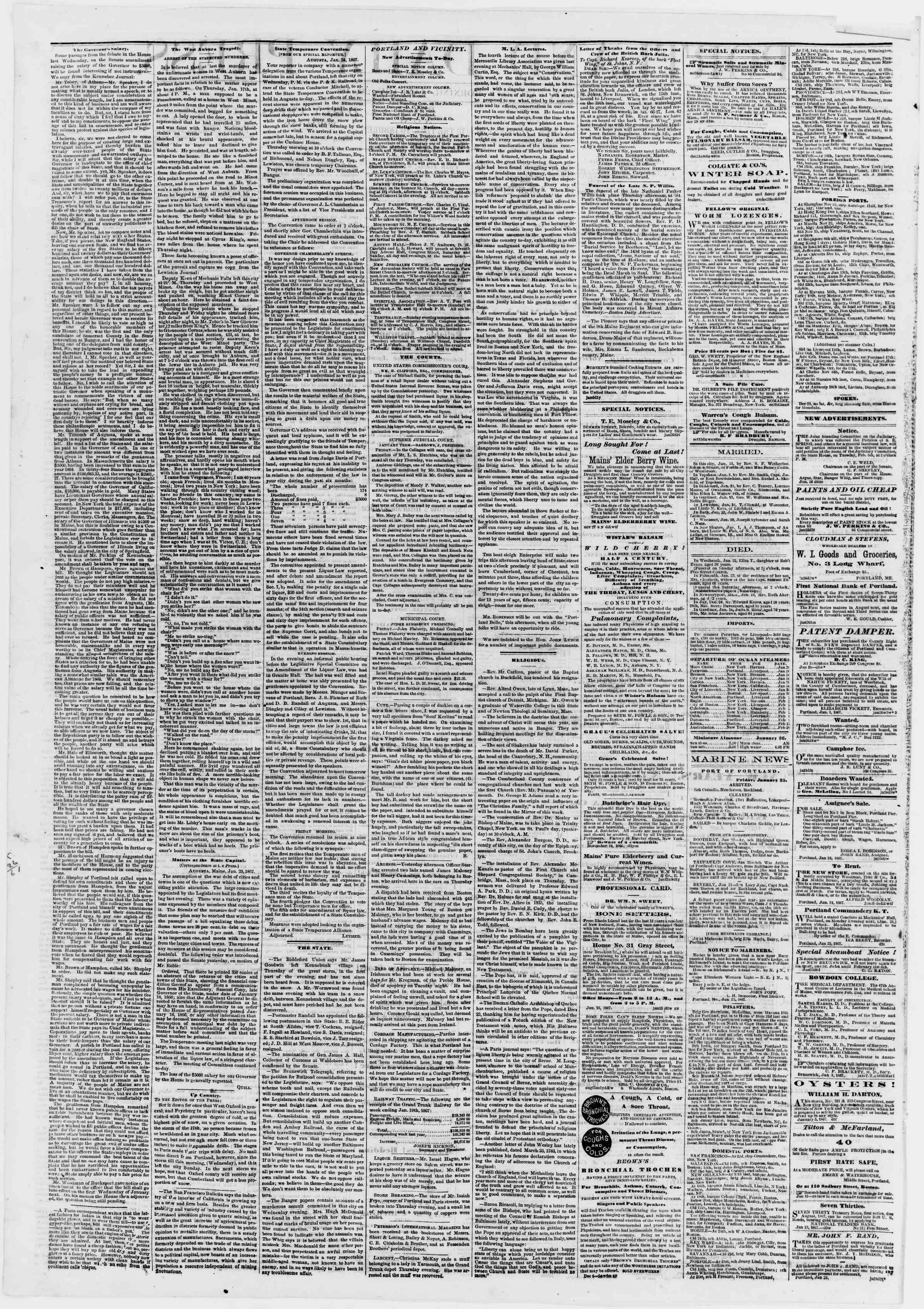Newspaper of Portland Daily Press dated January 26, 1867 Page 2
