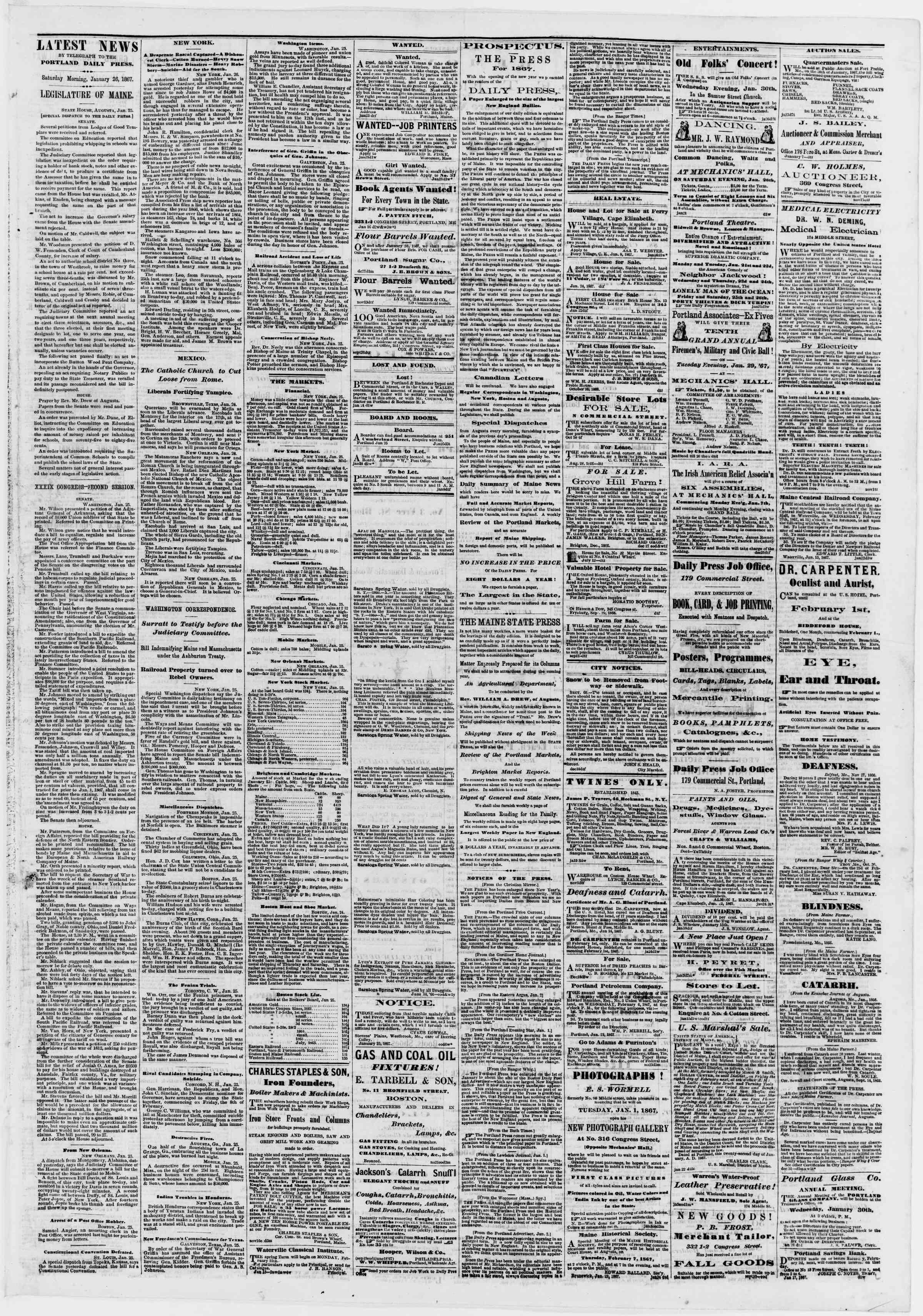 Newspaper of Portland Daily Press dated 26 Ocak 1867 Page 3