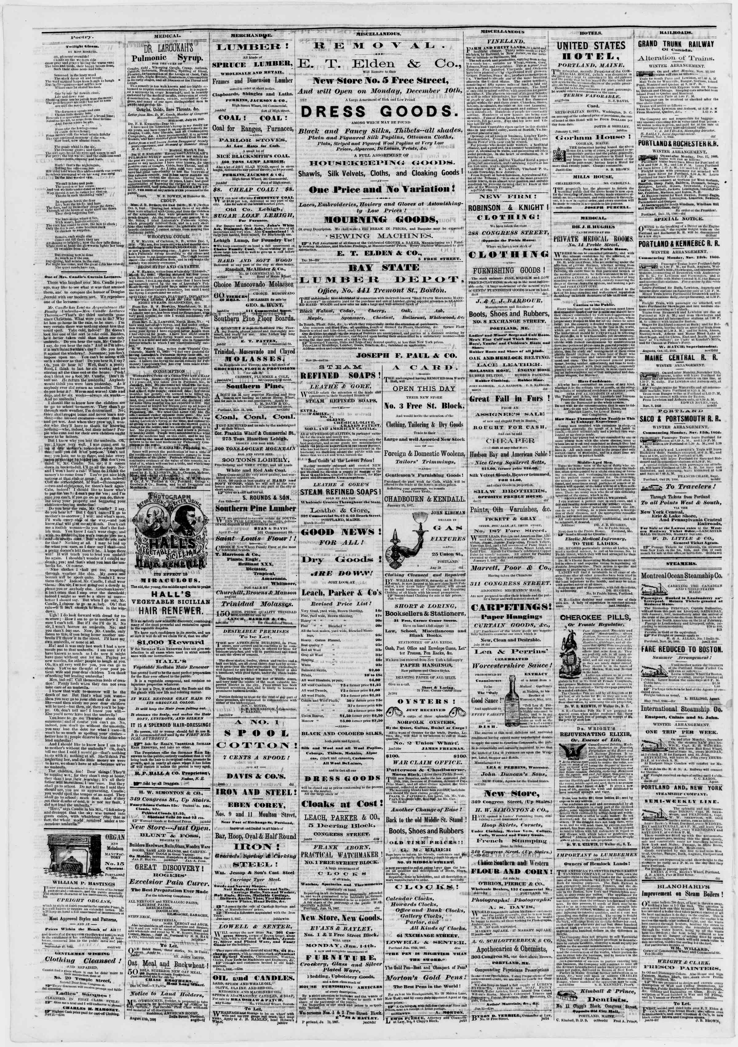 Newspaper of Portland Daily Press dated January 26, 1867 Page 4