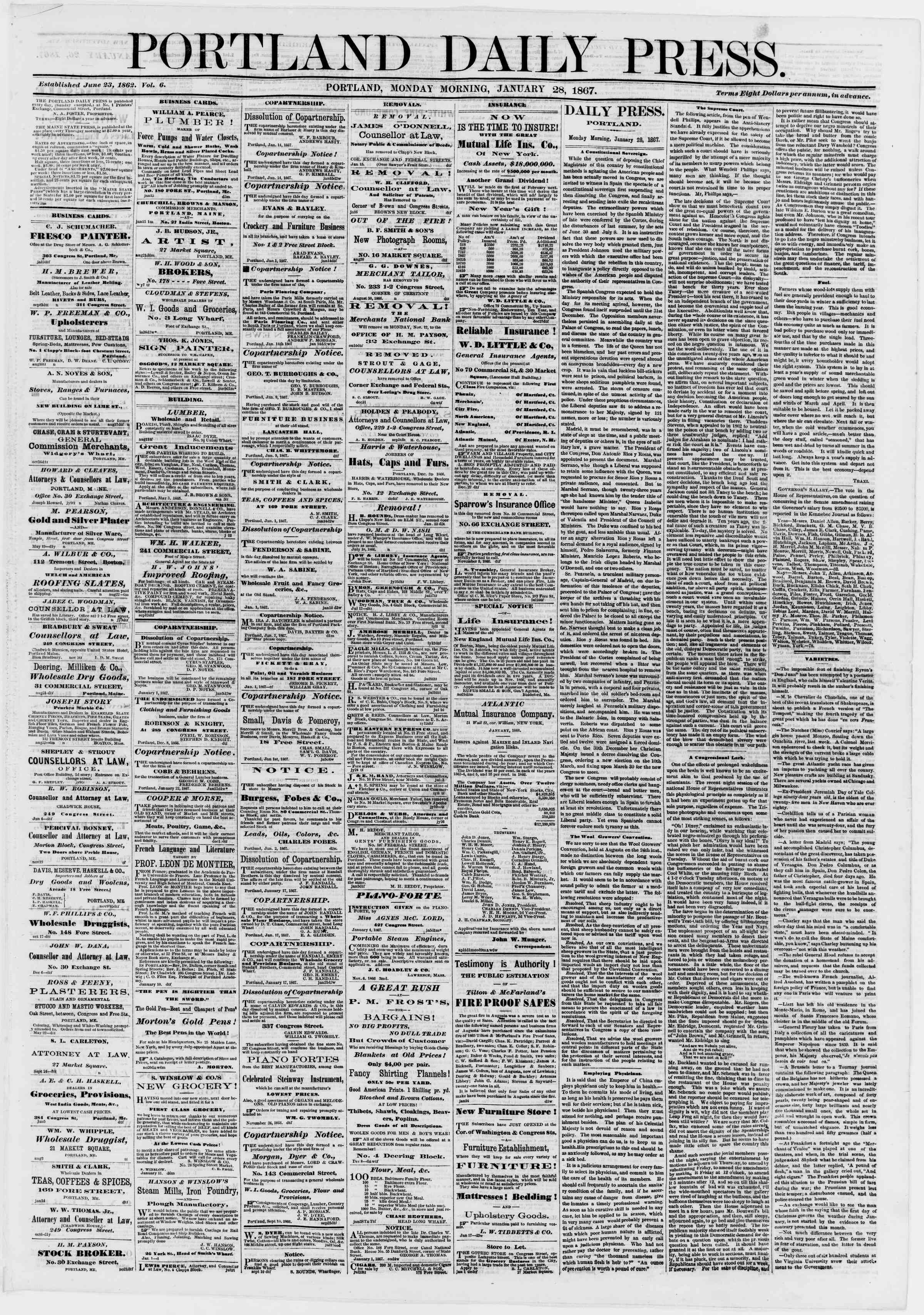 Newspaper of Portland Daily Press dated January 28, 1867 Page 1