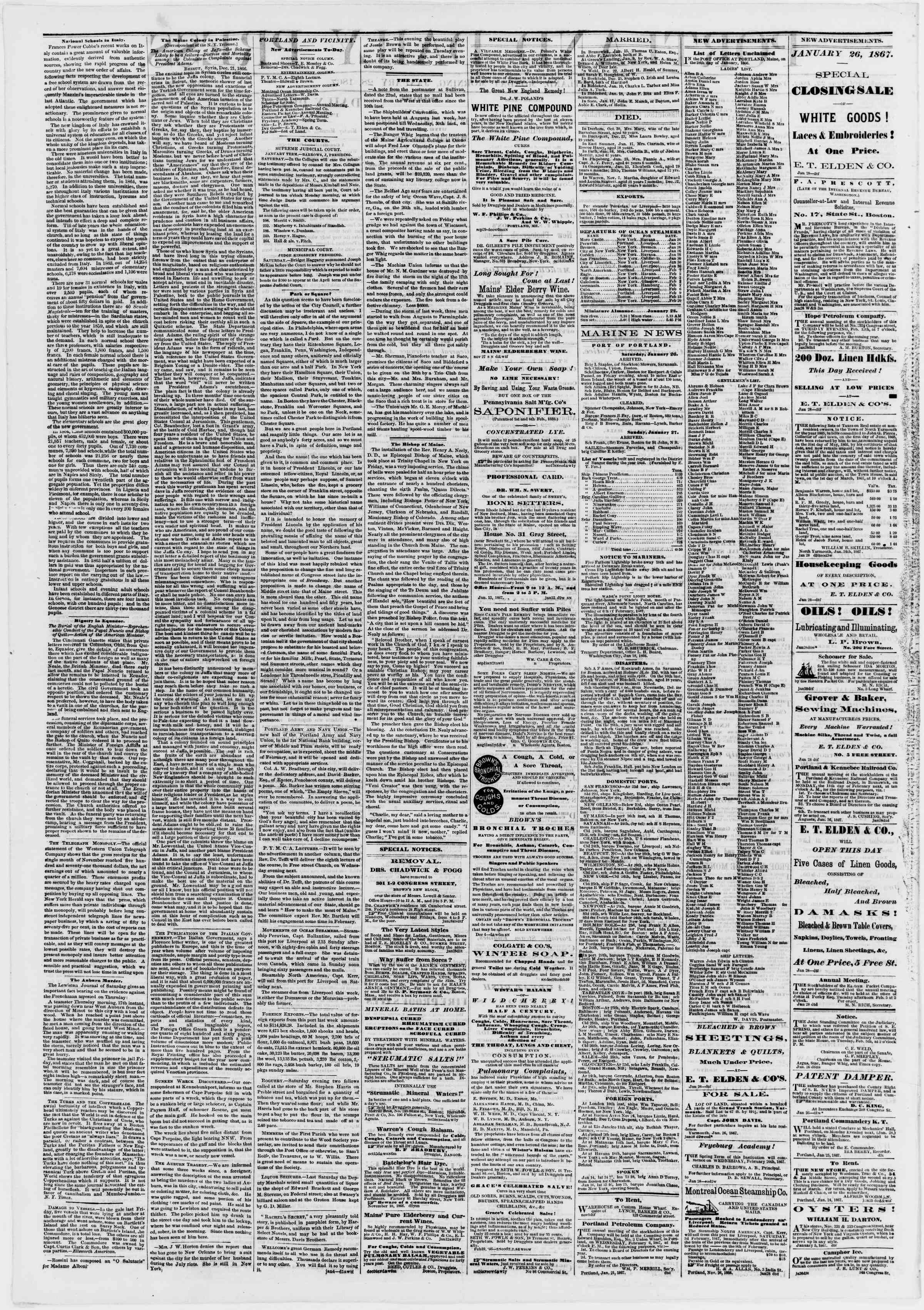 Newspaper of Portland Daily Press dated January 28, 1867 Page 2