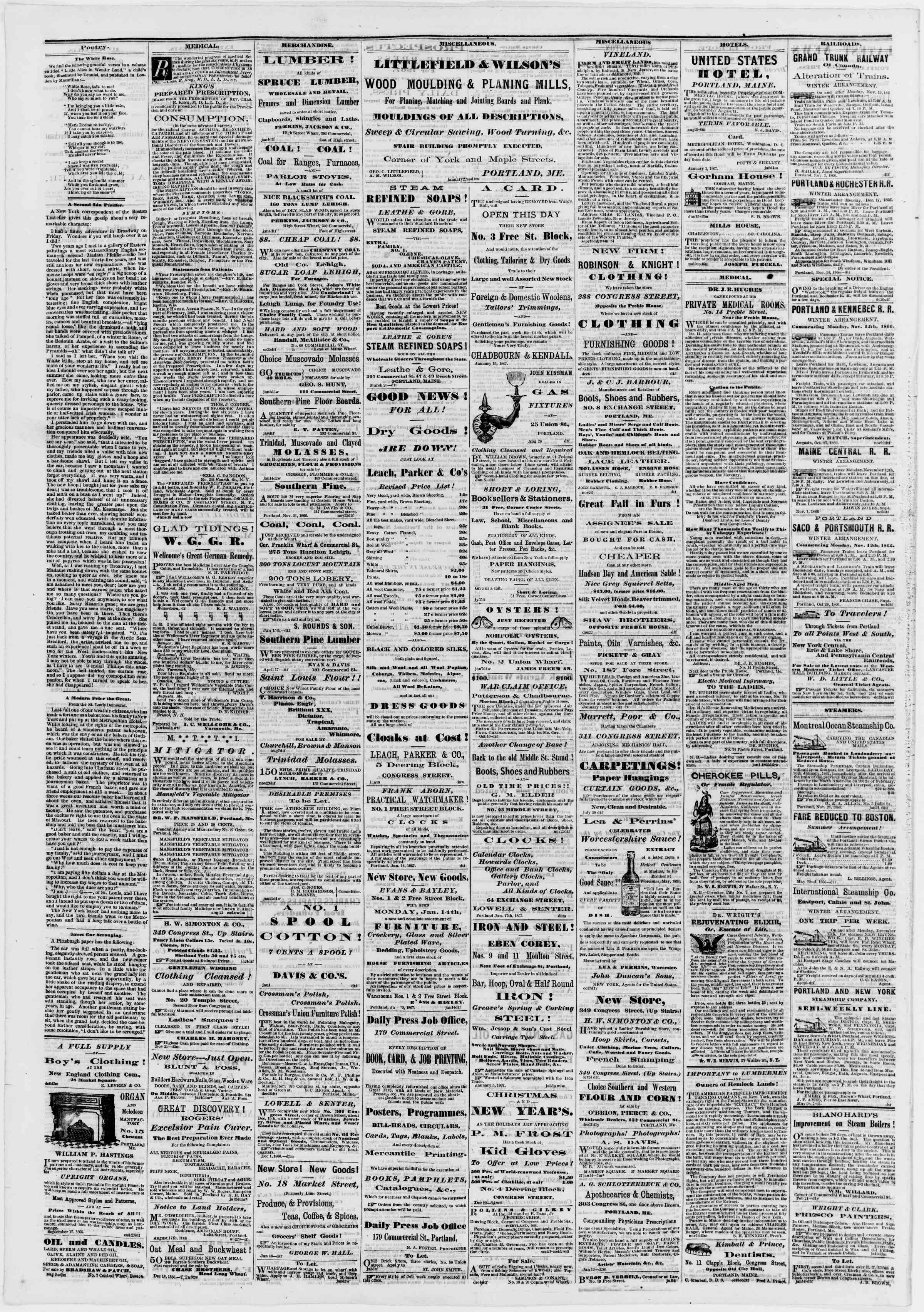 Newspaper of Portland Daily Press dated January 28, 1867 Page 4