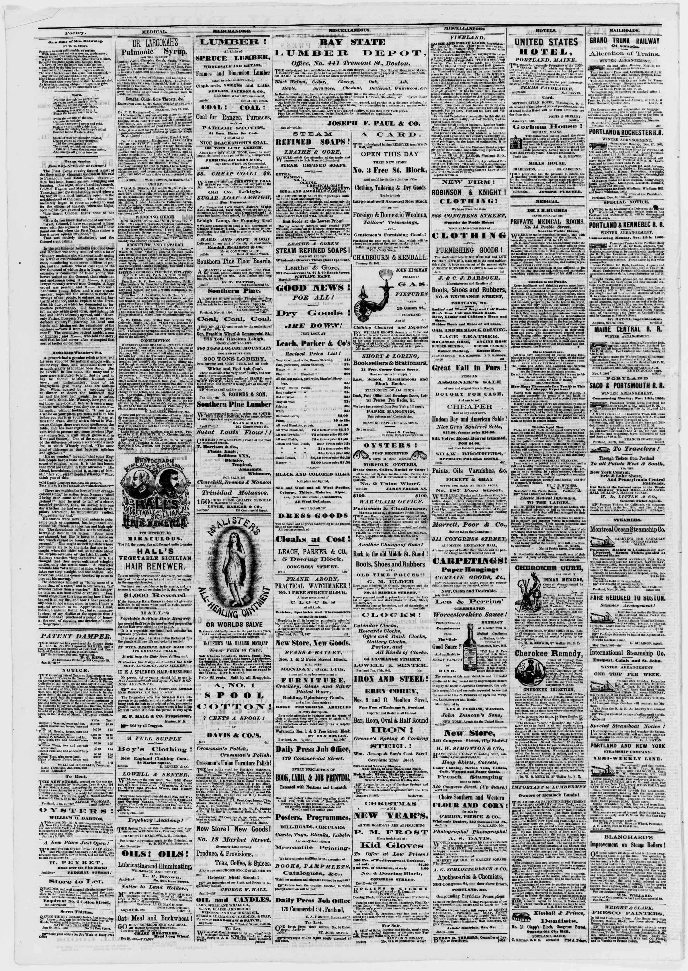 Newspaper of Portland Daily Press dated January 29, 1867 Page 4