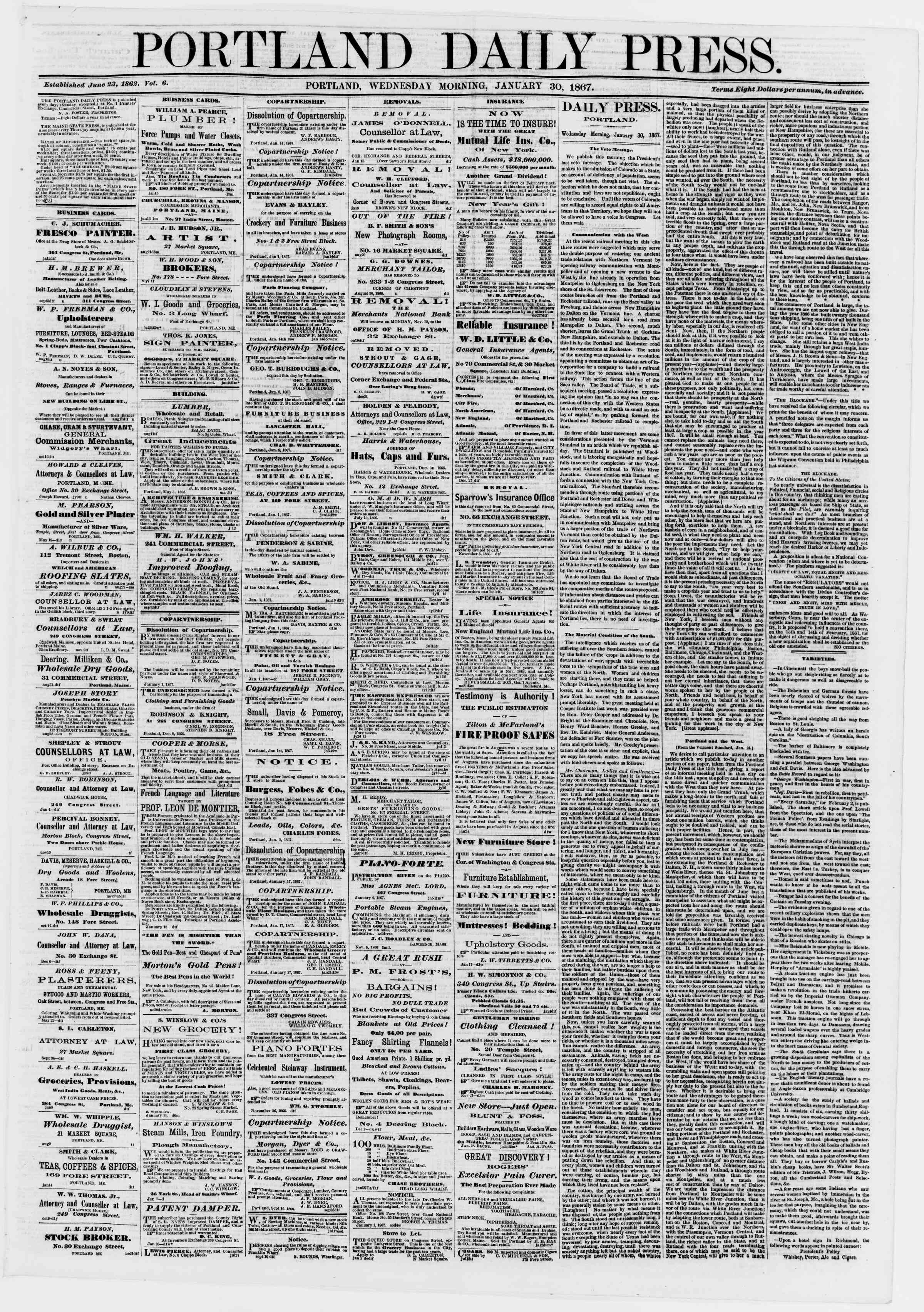 Newspaper of Portland Daily Press dated January 30, 1867 Page 1