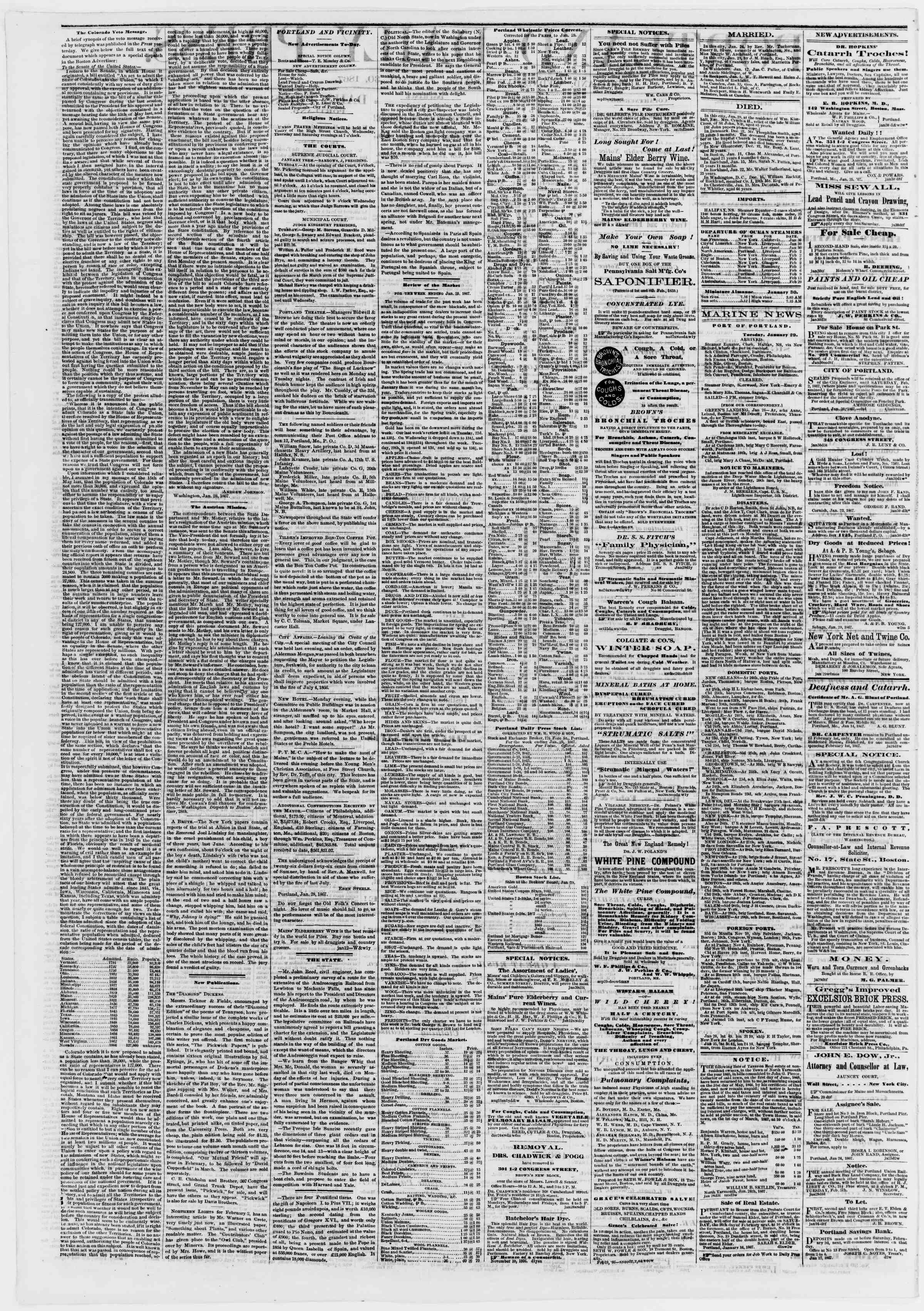 Newspaper of Portland Daily Press dated January 30, 1867 Page 2