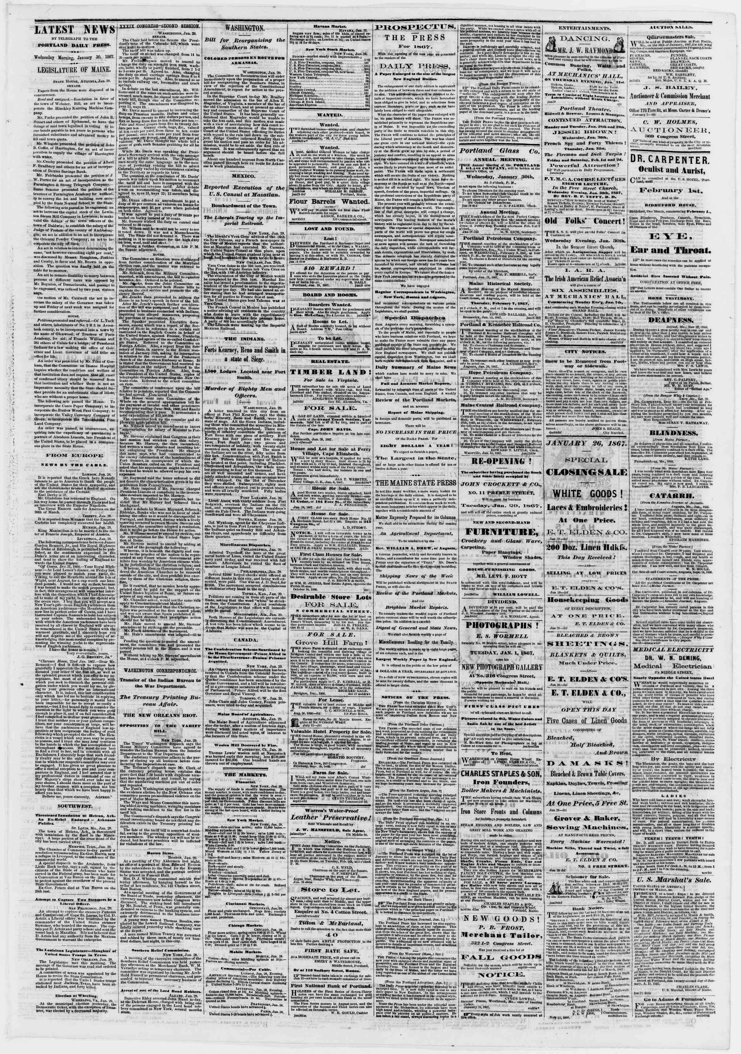 Newspaper of Portland Daily Press dated January 30, 1867 Page 3