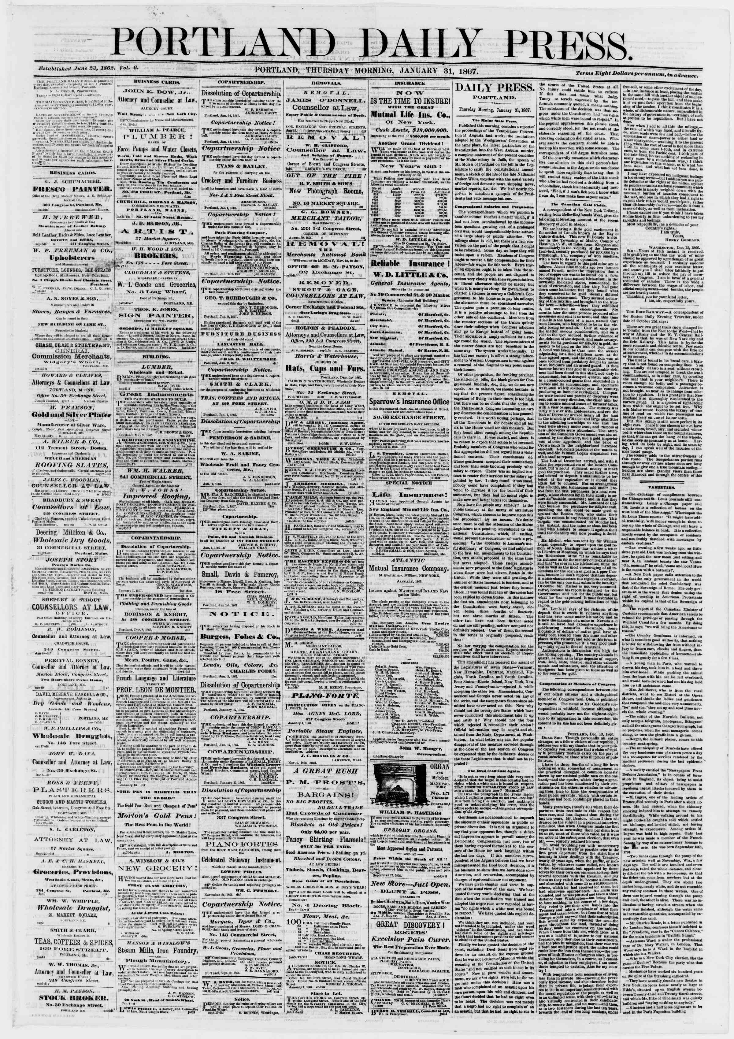 Newspaper of Portland Daily Press dated January 31, 1867 Page 1