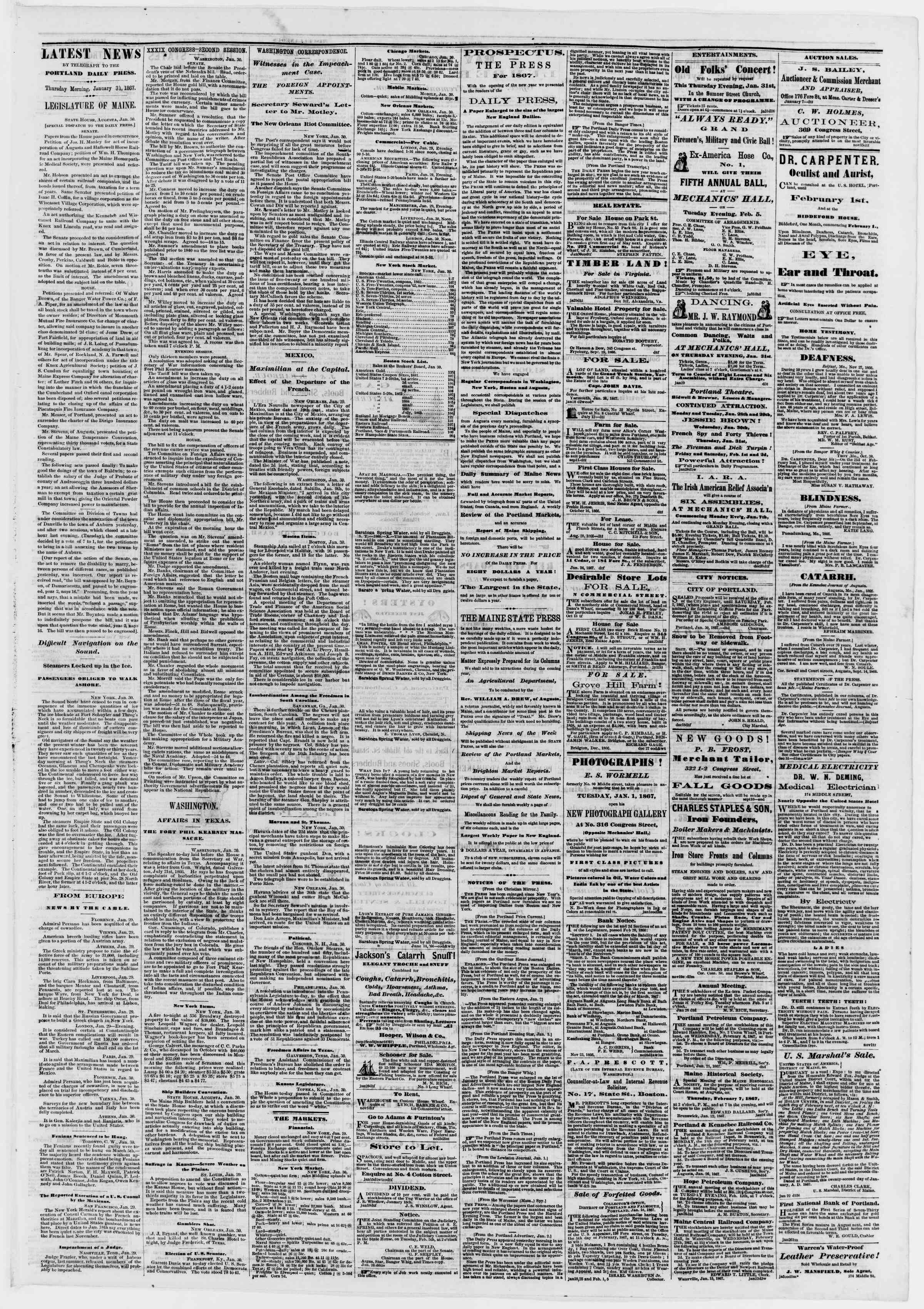 Newspaper of Portland Daily Press dated January 31, 1867 Page 3