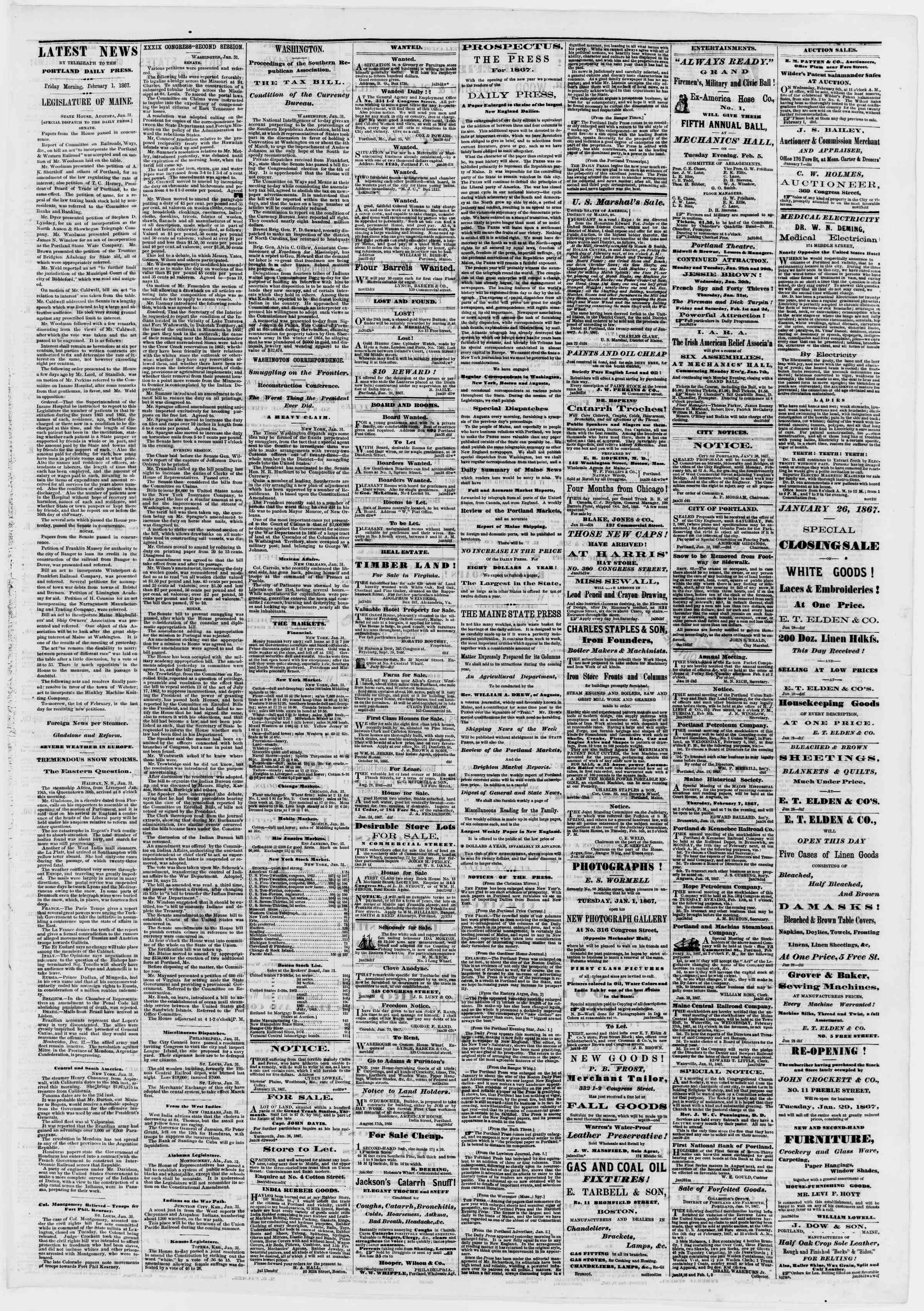 Newspaper of Portland Daily Press dated February 1, 1867 Page 3