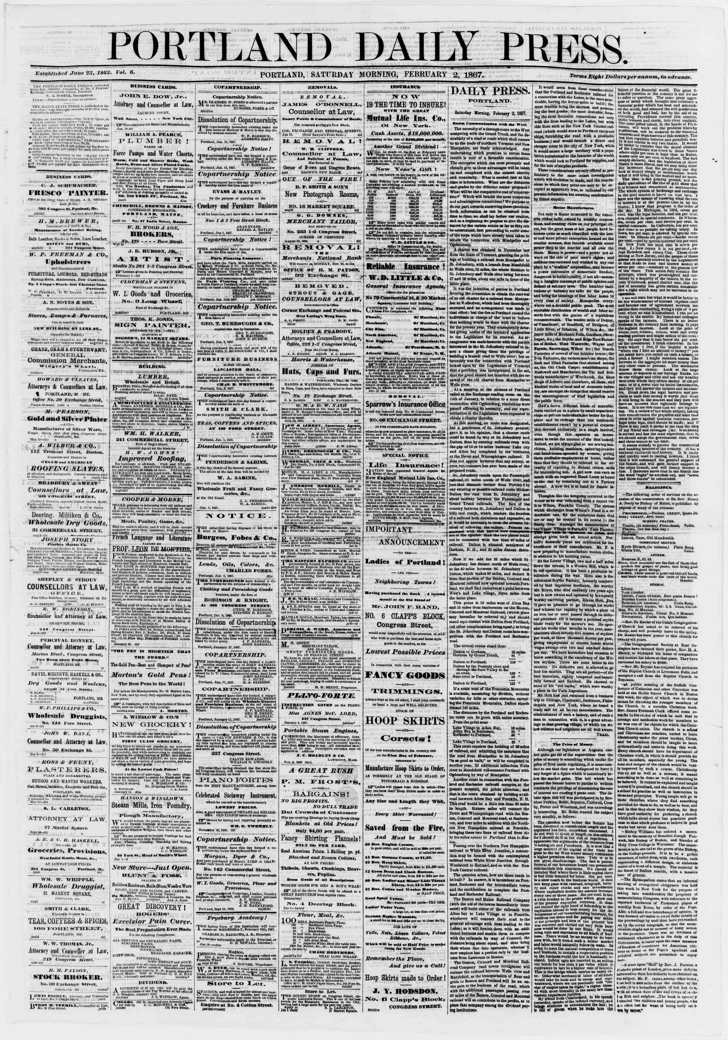 Newspaper of Portland Daily Press dated February 2, 1867 Page 1