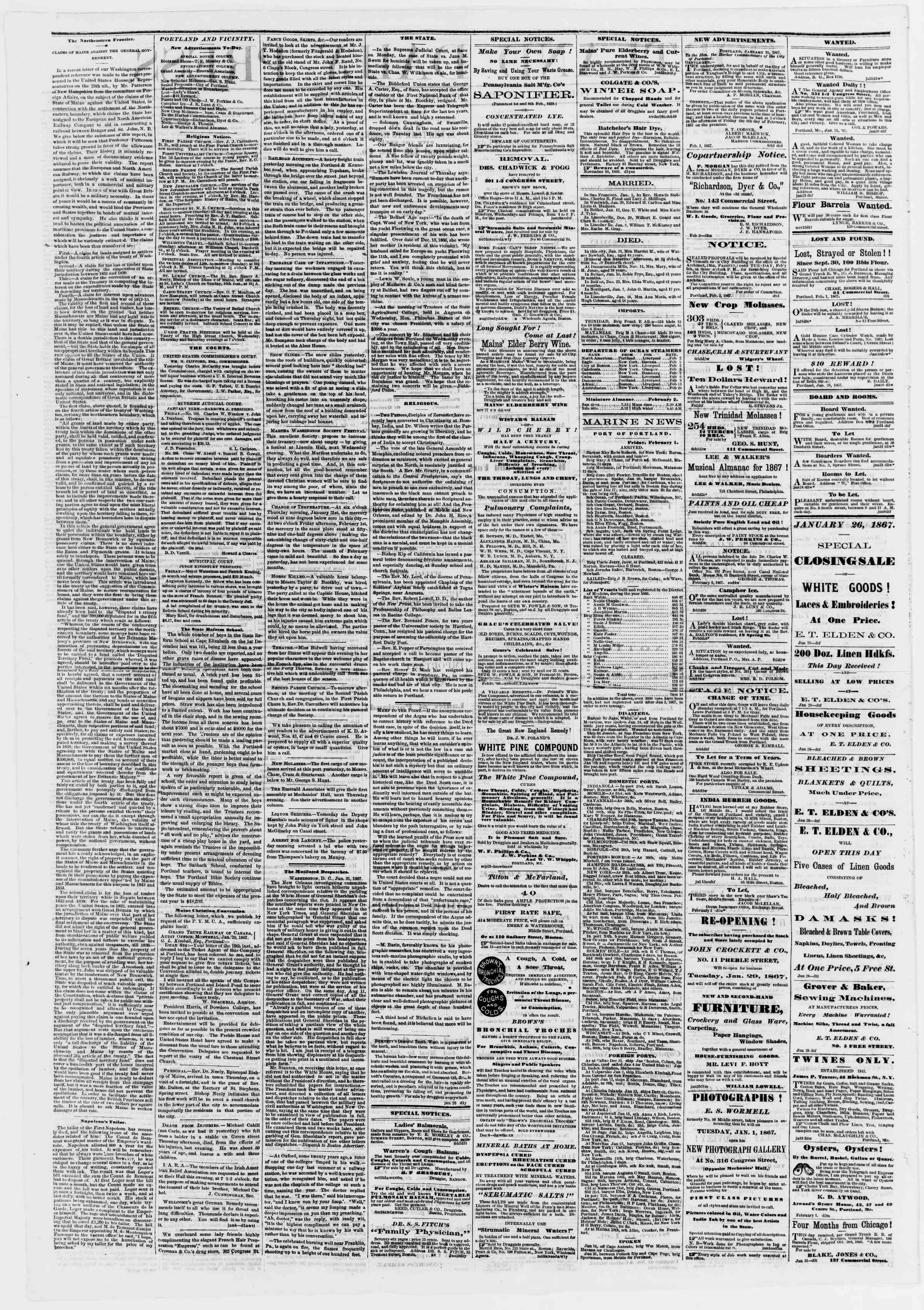 Newspaper of Portland Daily Press dated February 2, 1867 Page 2