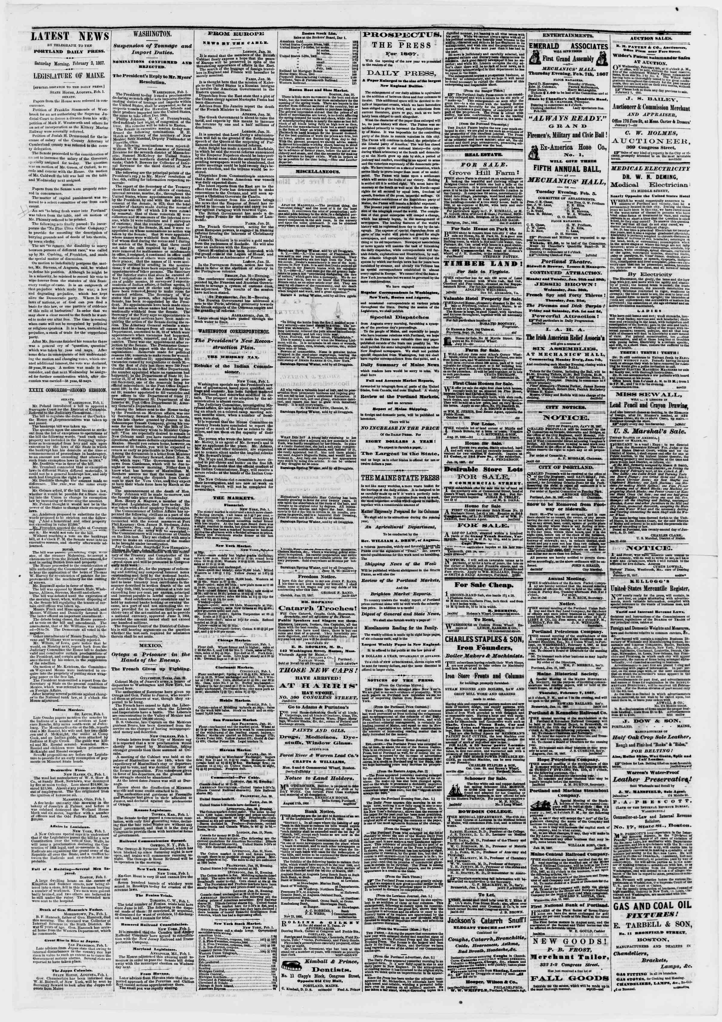 Newspaper of Portland Daily Press dated February 2, 1867 Page 3
