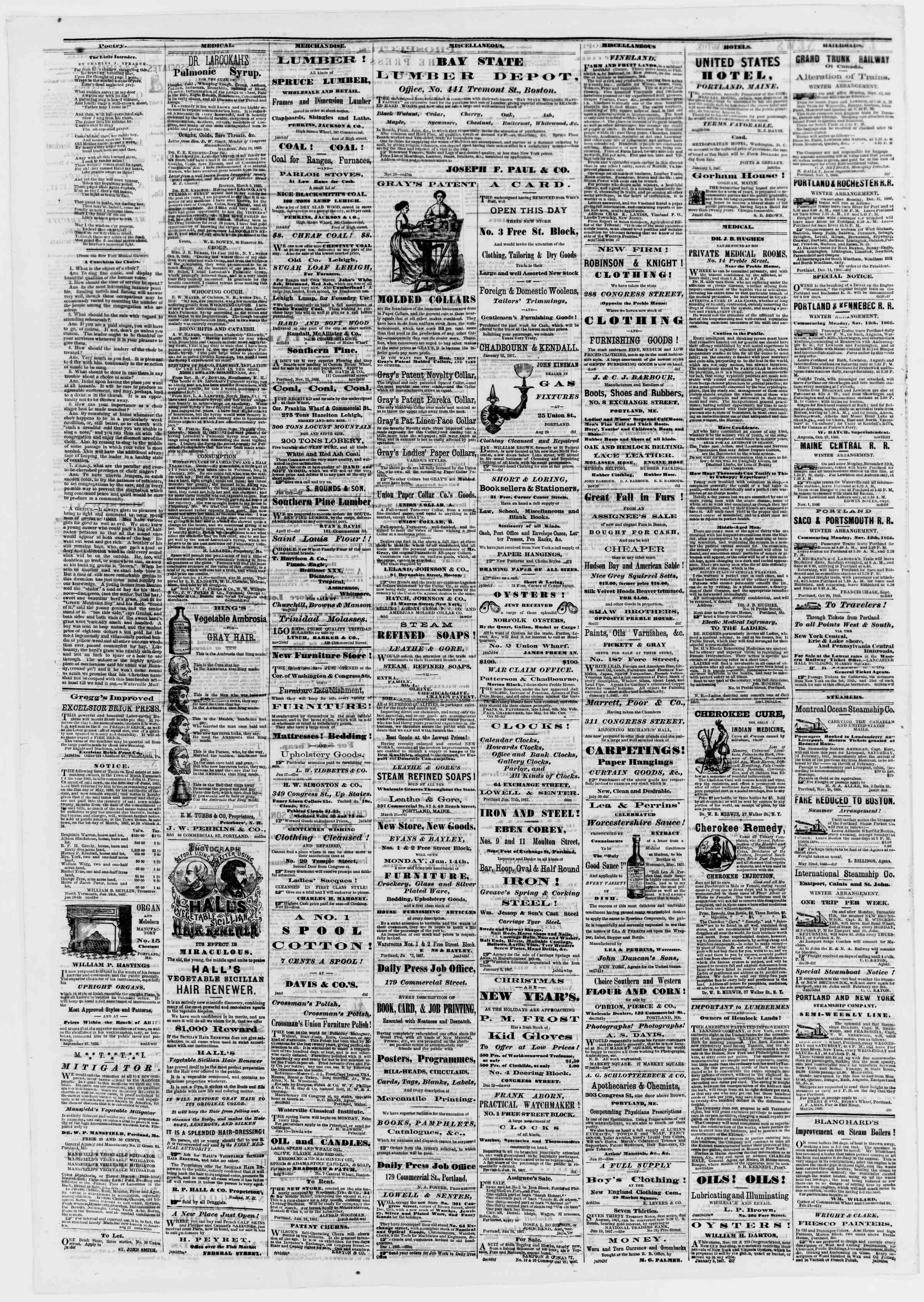Newspaper of Portland Daily Press dated February 2, 1867 Page 4