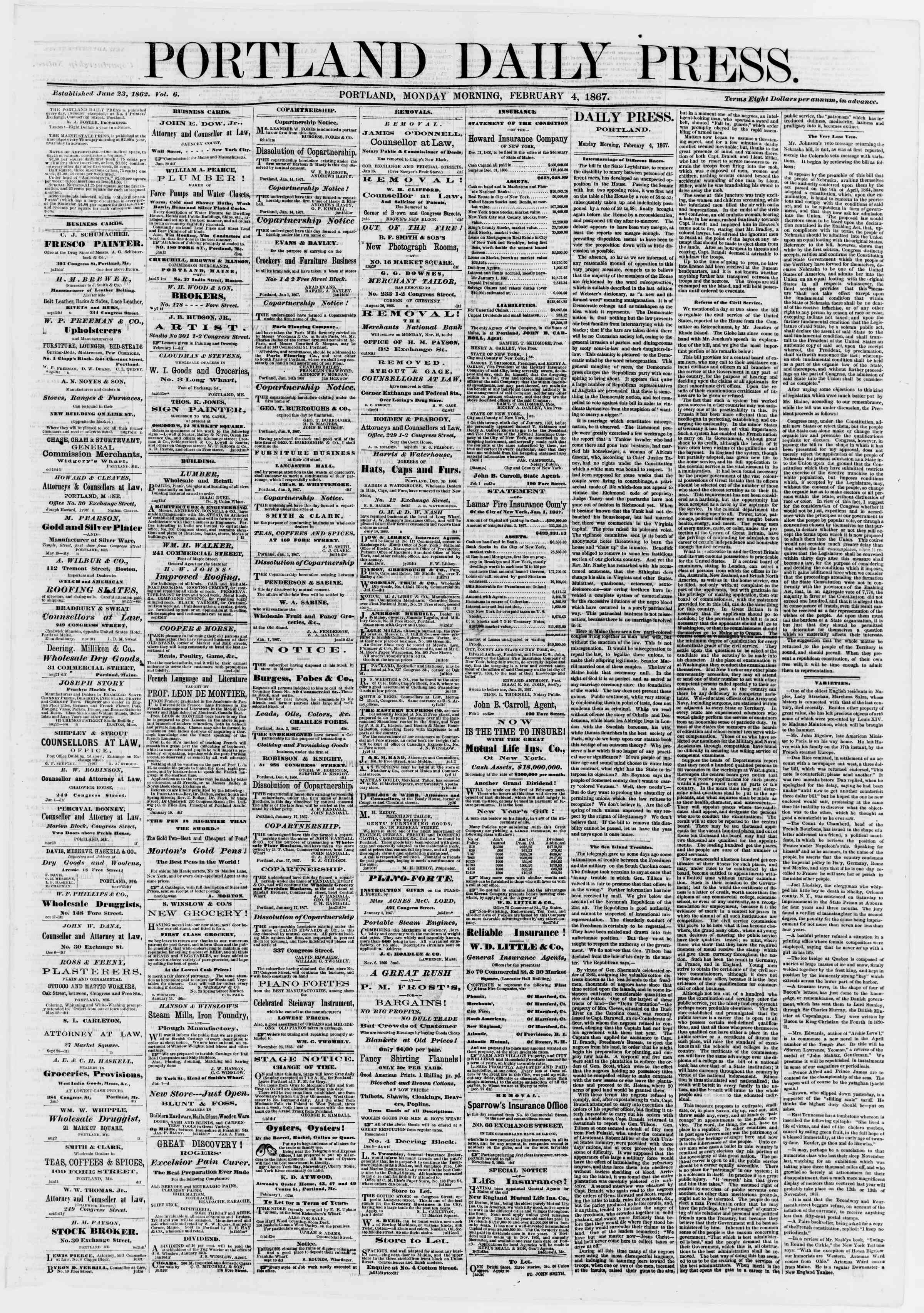 Newspaper of Portland Daily Press dated February 4, 1867 Page 1