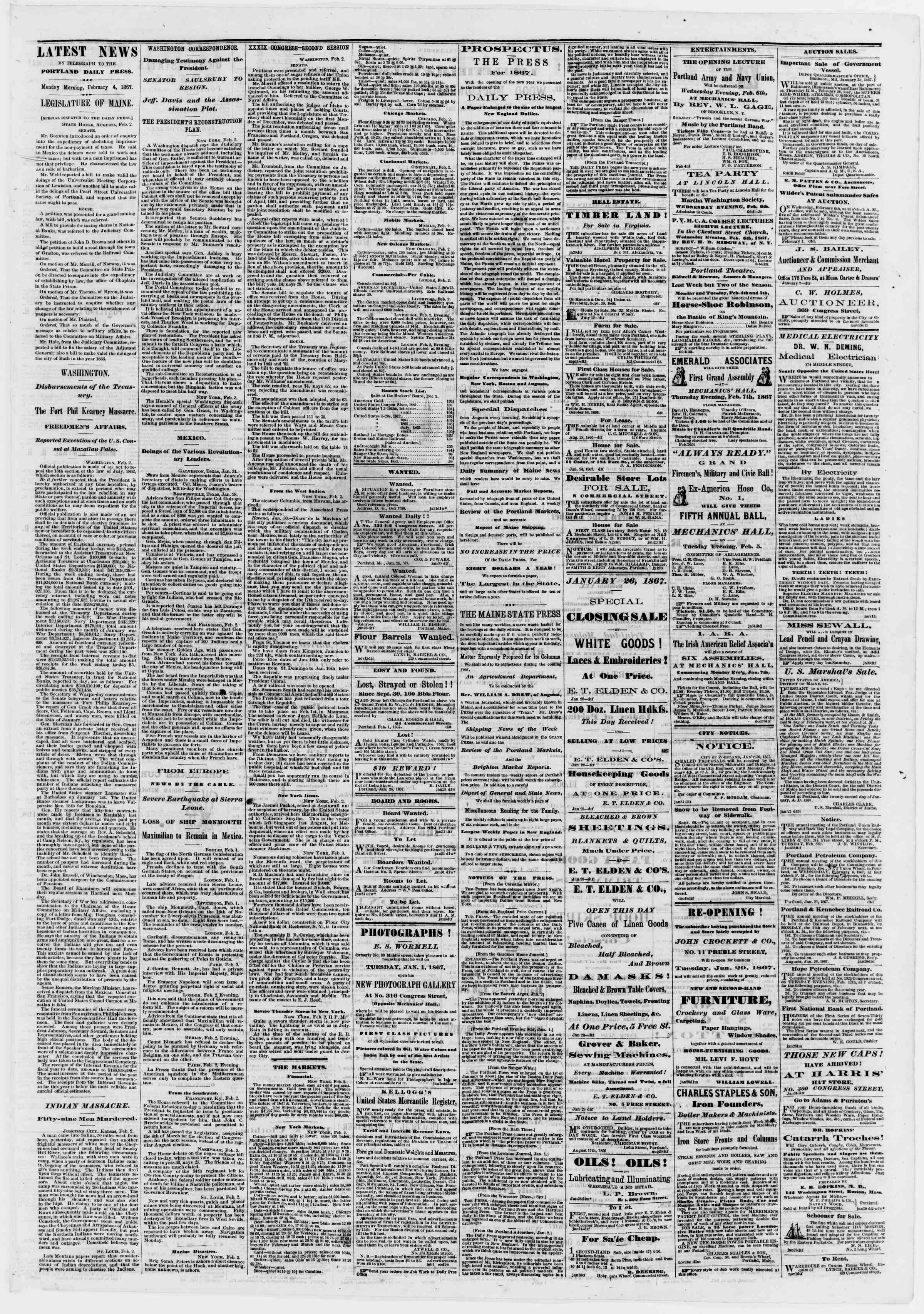 Newspaper of Portland Daily Press dated February 4, 1867 Page 3