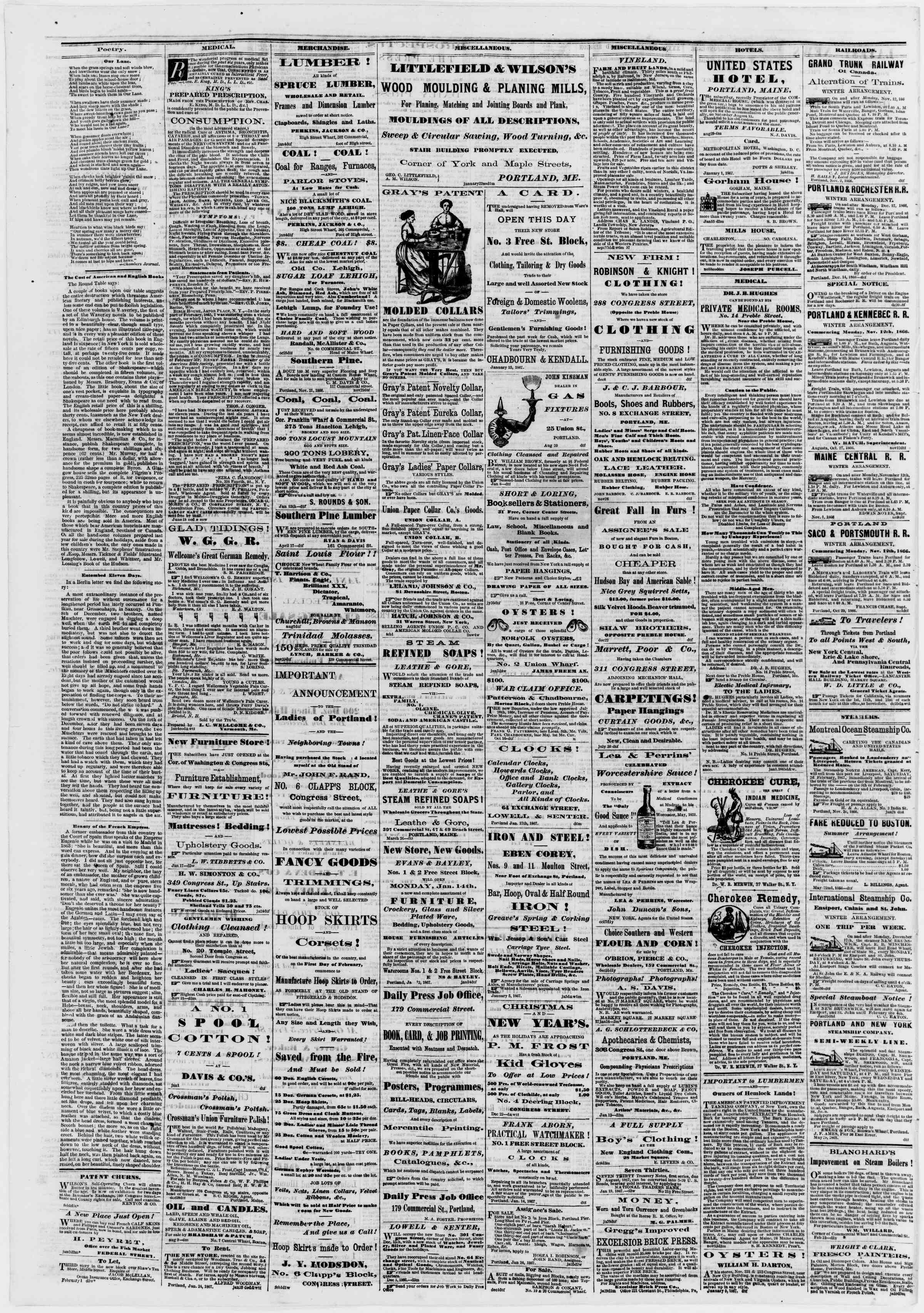Newspaper of Portland Daily Press dated February 4, 1867 Page 4