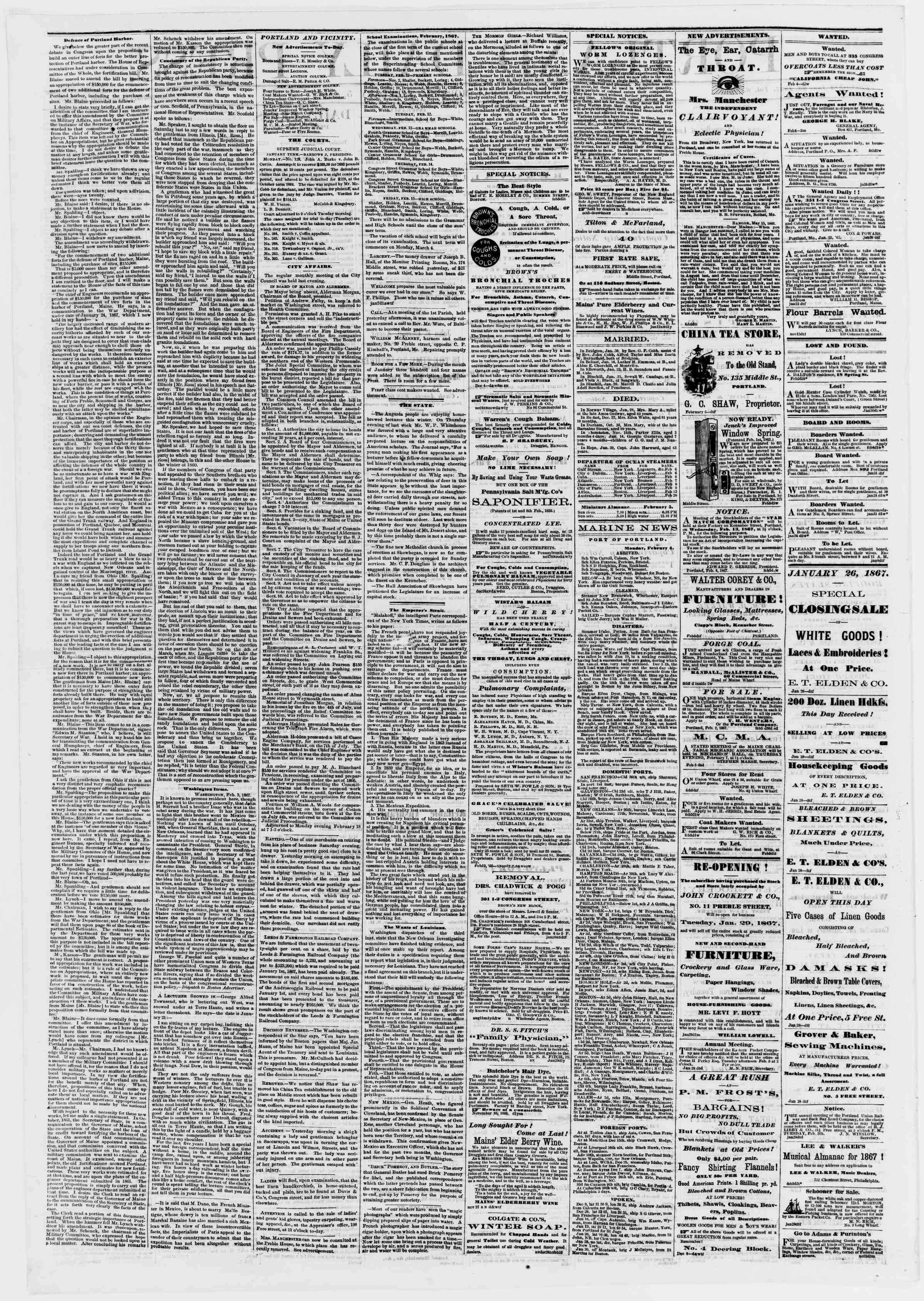 Newspaper of Portland Daily Press dated February 5, 1867 Page 2