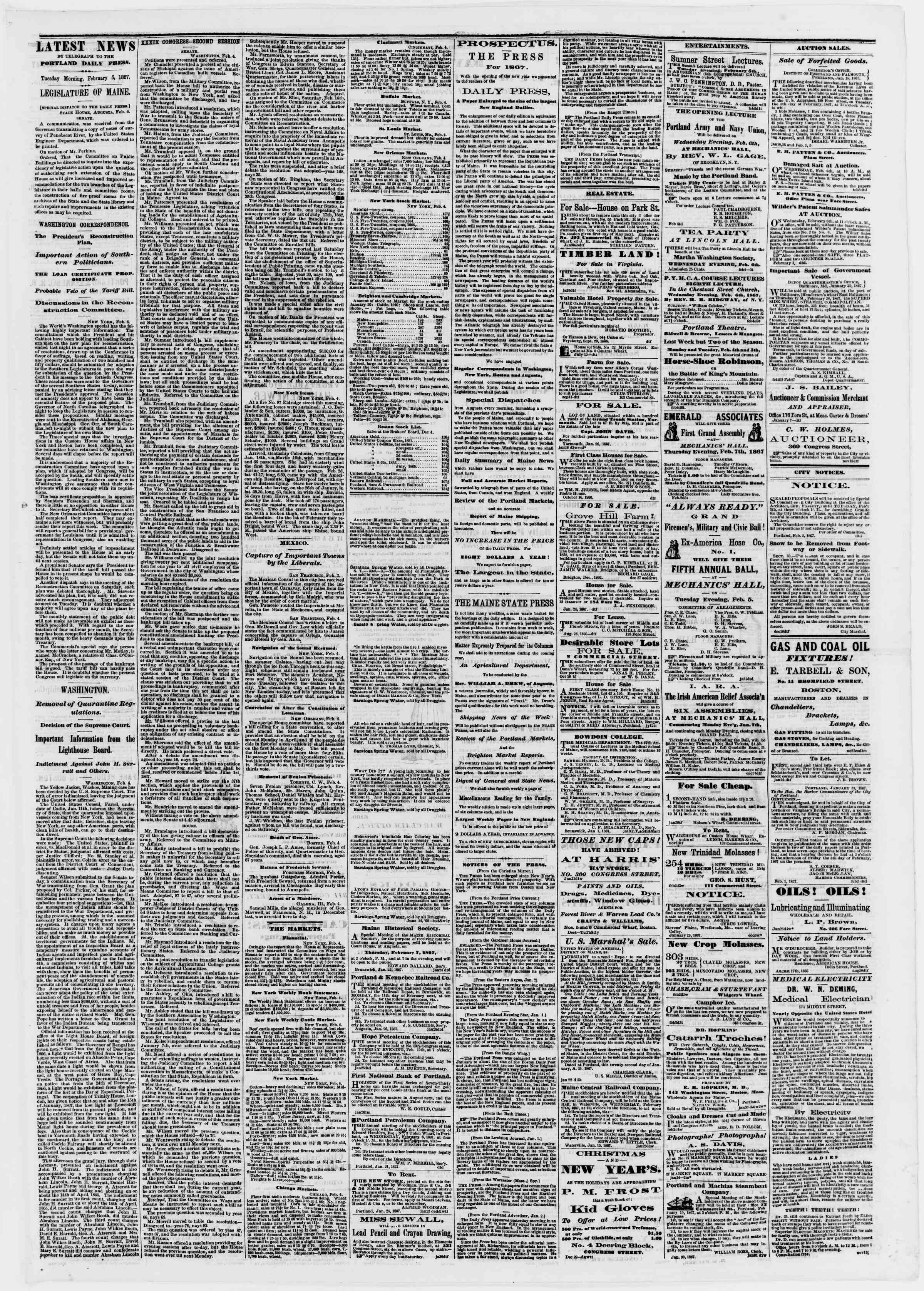 Newspaper of Portland Daily Press dated February 5, 1867 Page 3