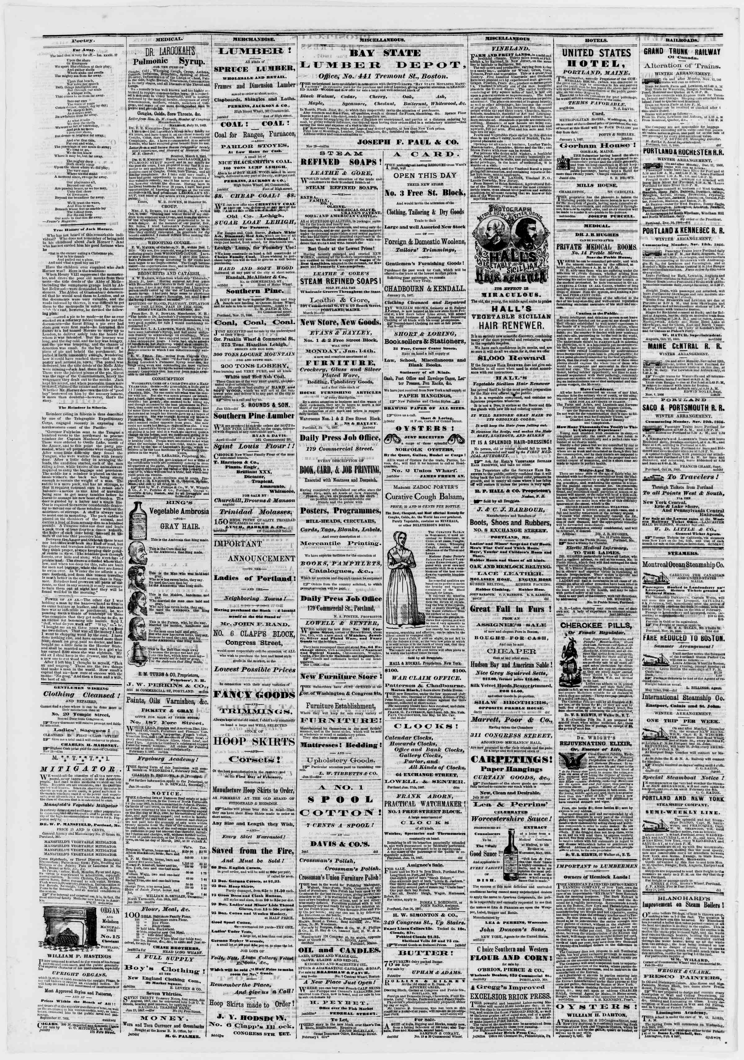 Newspaper of Portland Daily Press dated February 5, 1867 Page 4