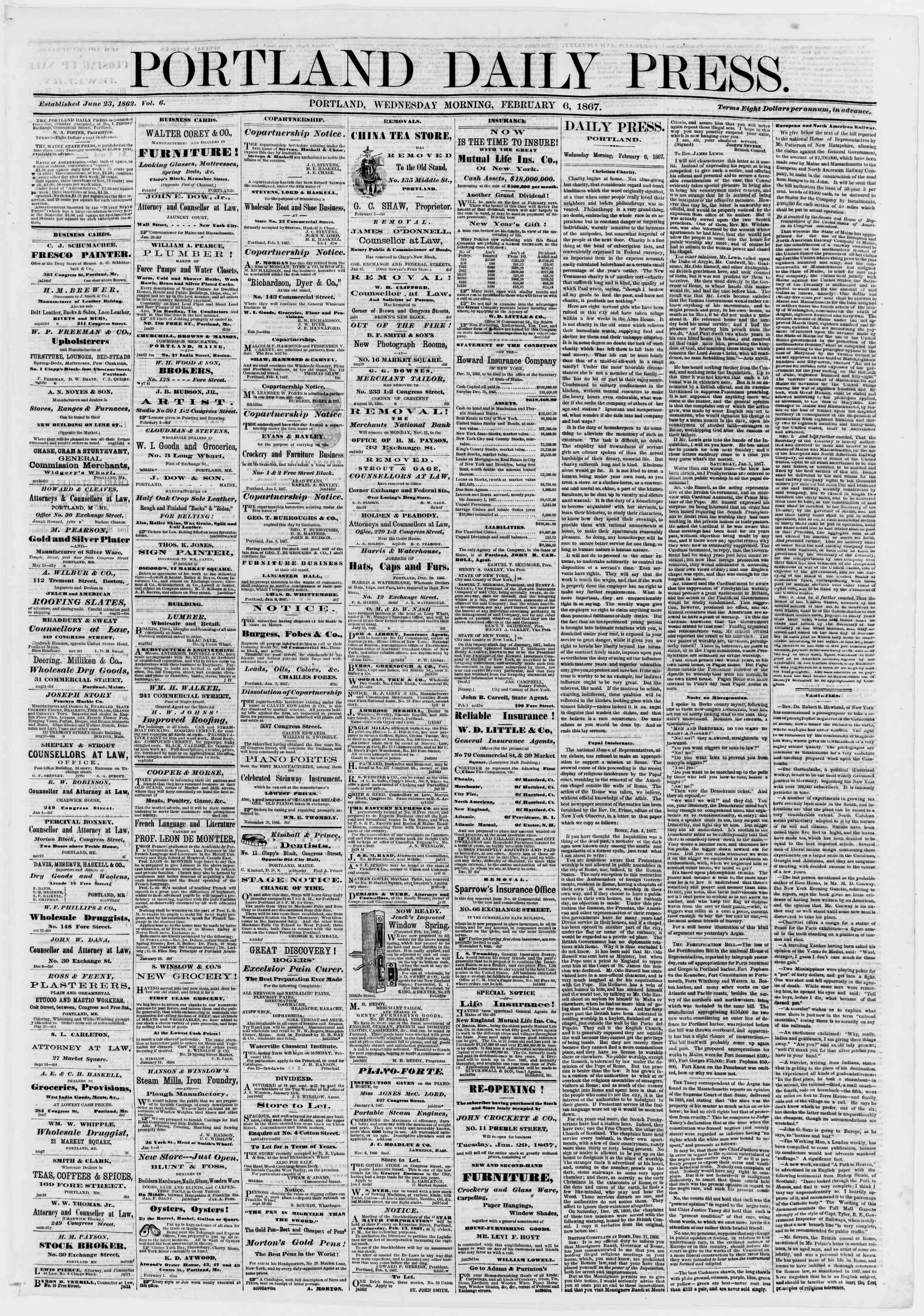Newspaper of Portland Daily Press dated February 6, 1867 Page 1