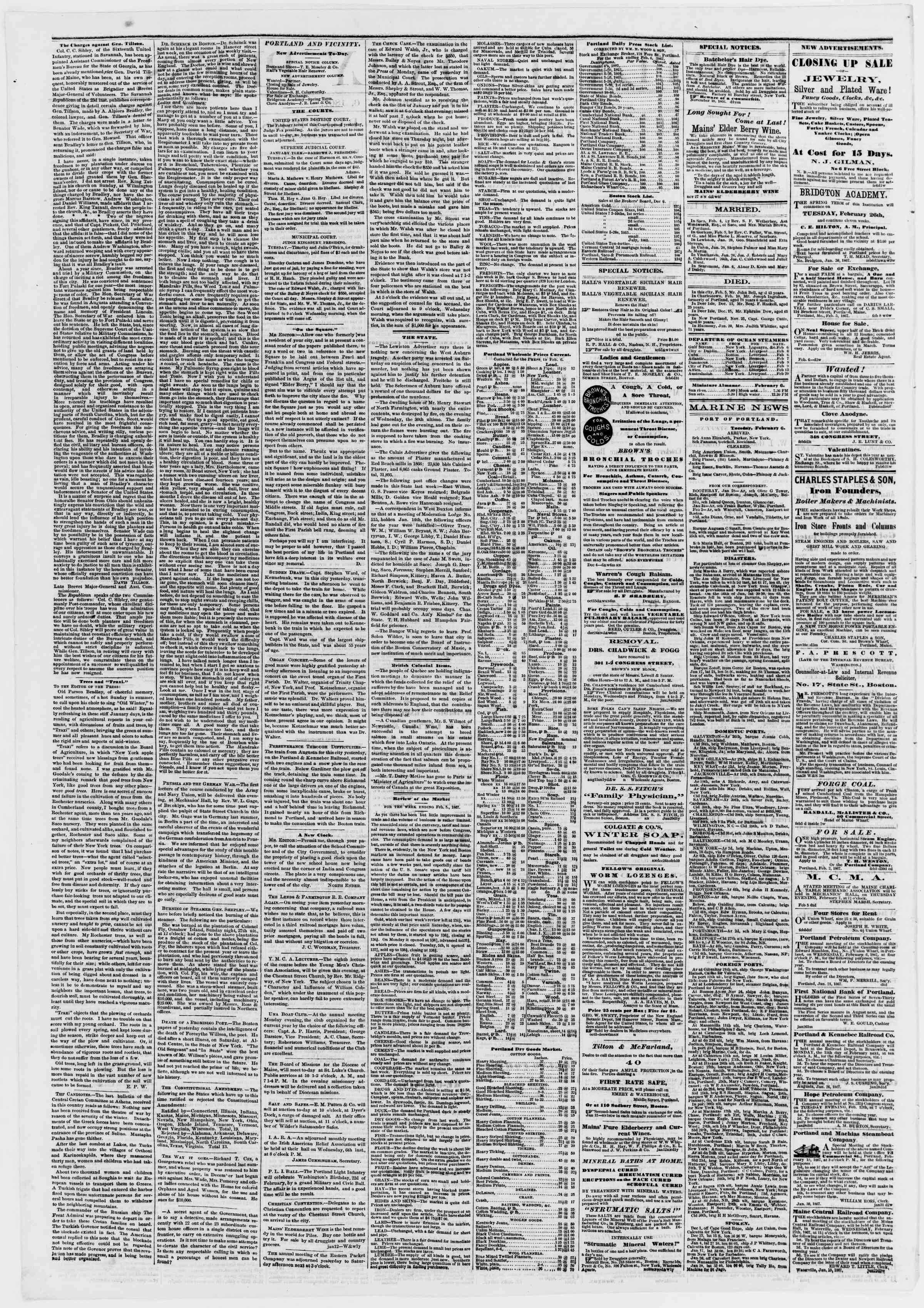 Newspaper of Portland Daily Press dated February 6, 1867 Page 2