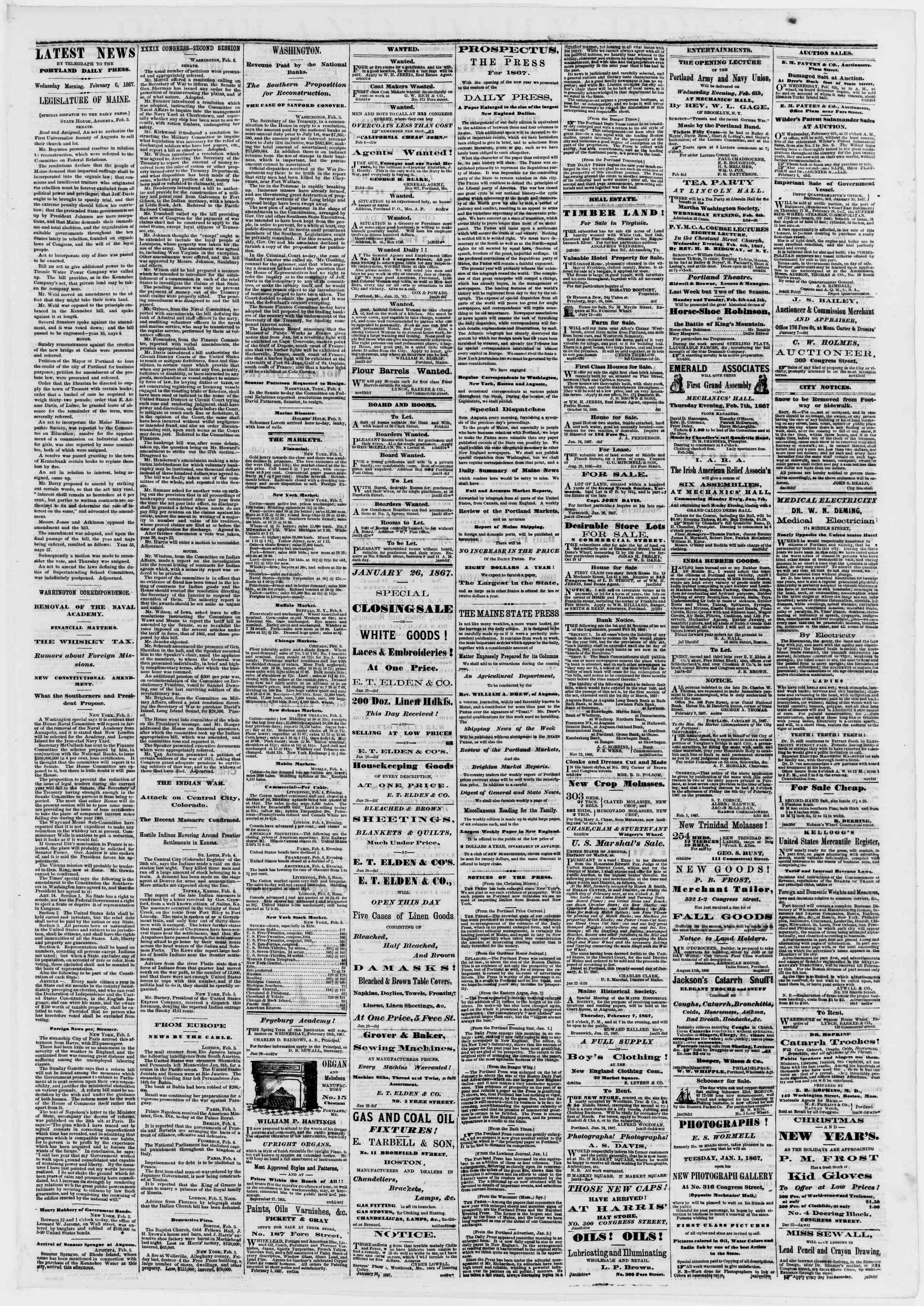 Newspaper of Portland Daily Press dated February 6, 1867 Page 3