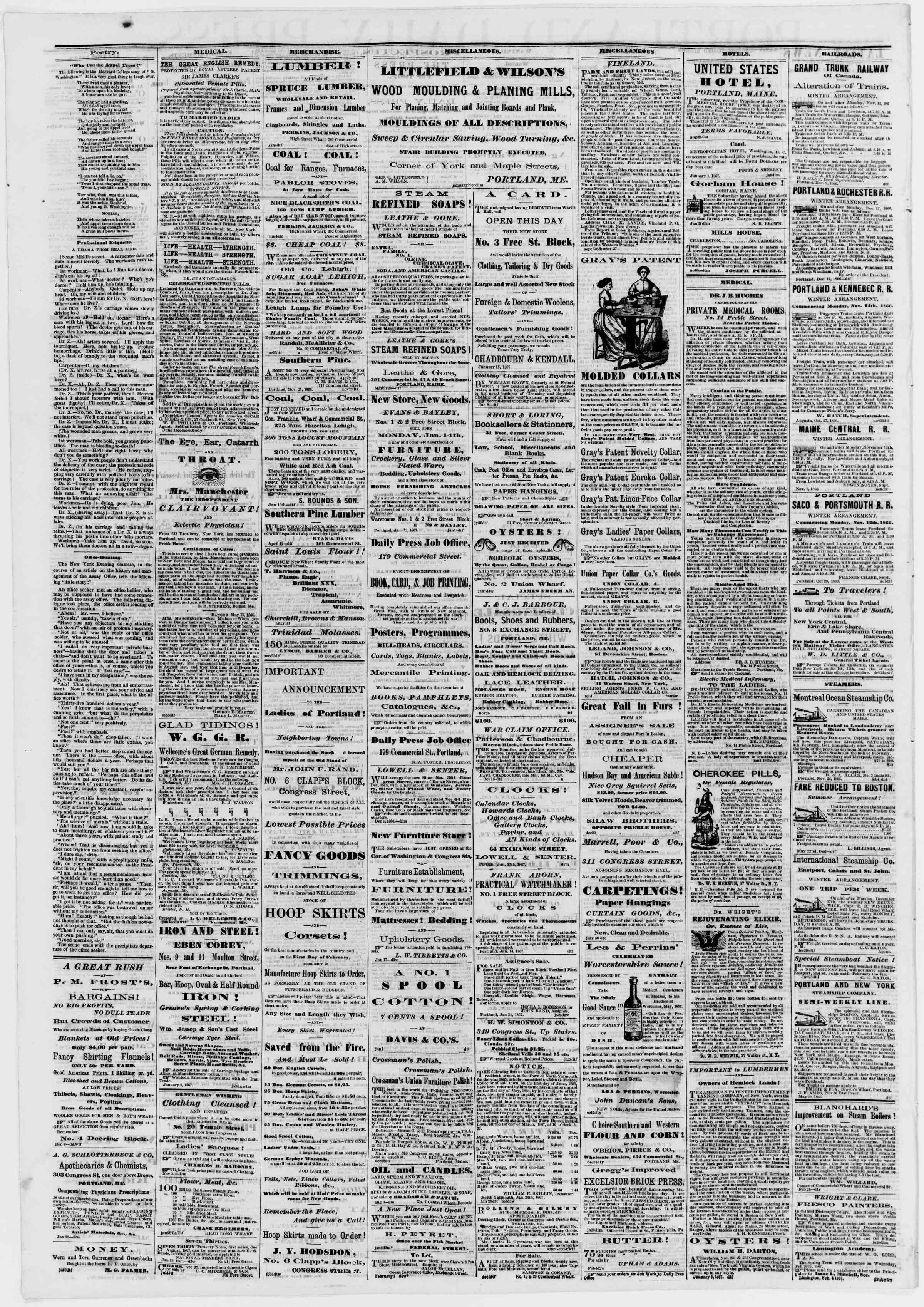 Newspaper of Portland Daily Press dated 6 Şubat 1867 Page 4