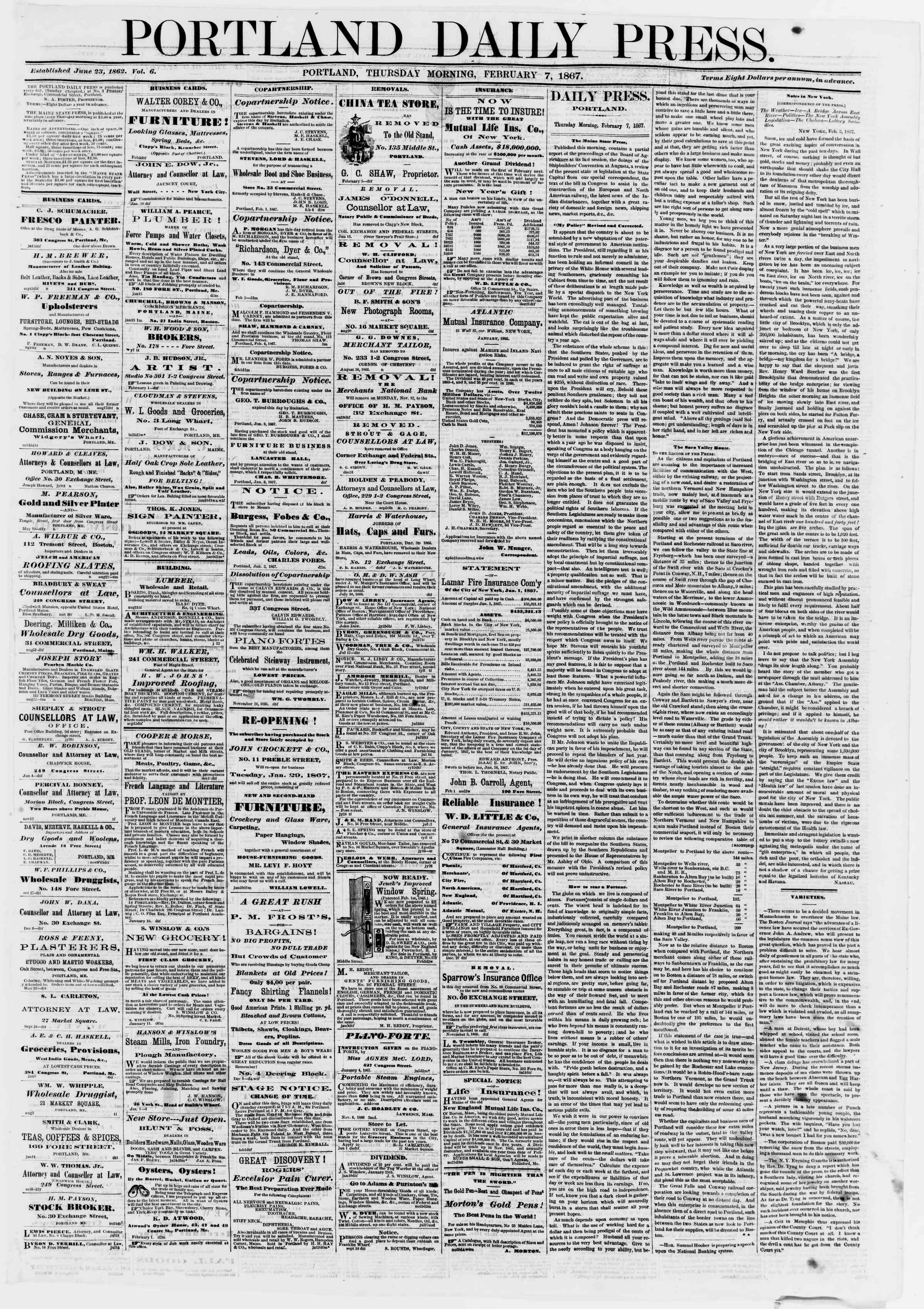 Newspaper of Portland Daily Press dated February 7, 1867 Page 1