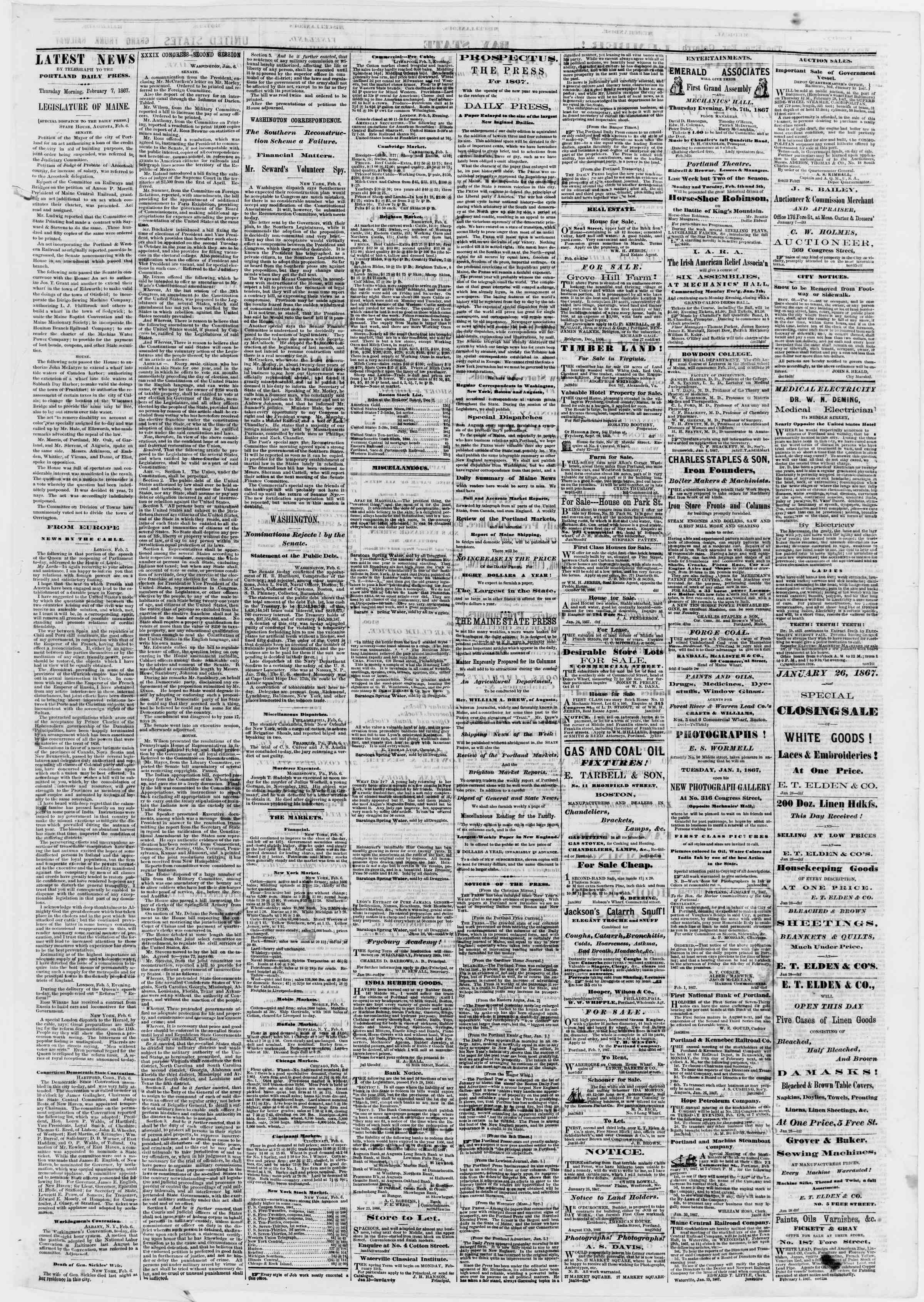 Newspaper of Portland Daily Press dated February 7, 1867 Page 3