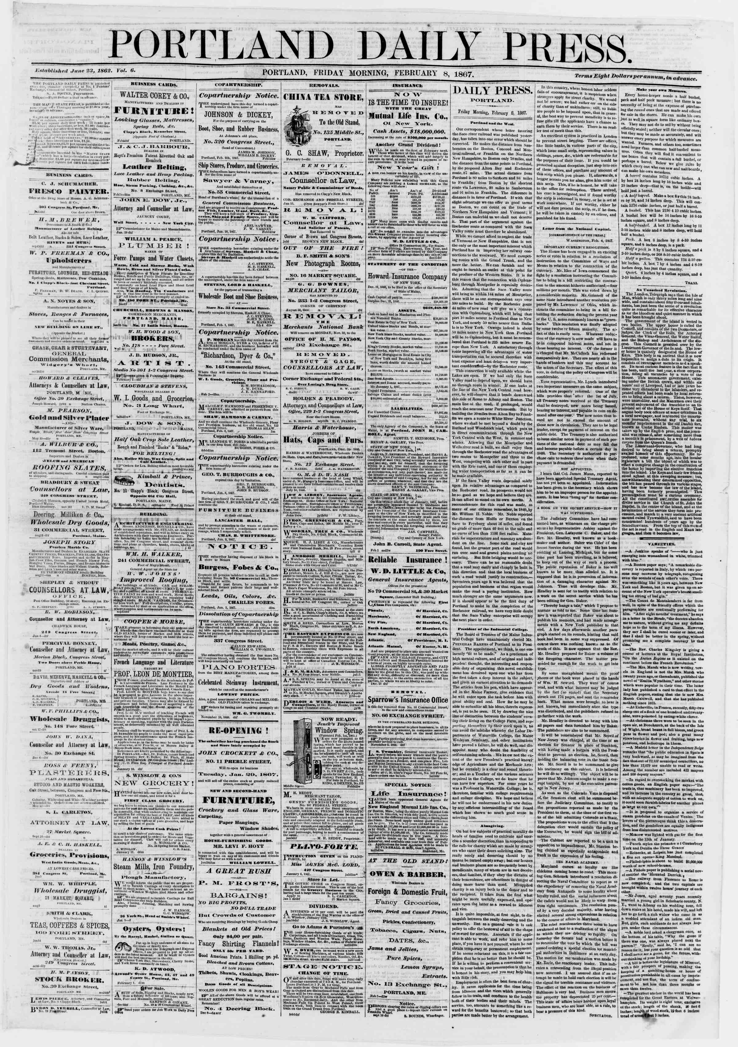Newspaper of Portland Daily Press dated February 8, 1867 Page 1