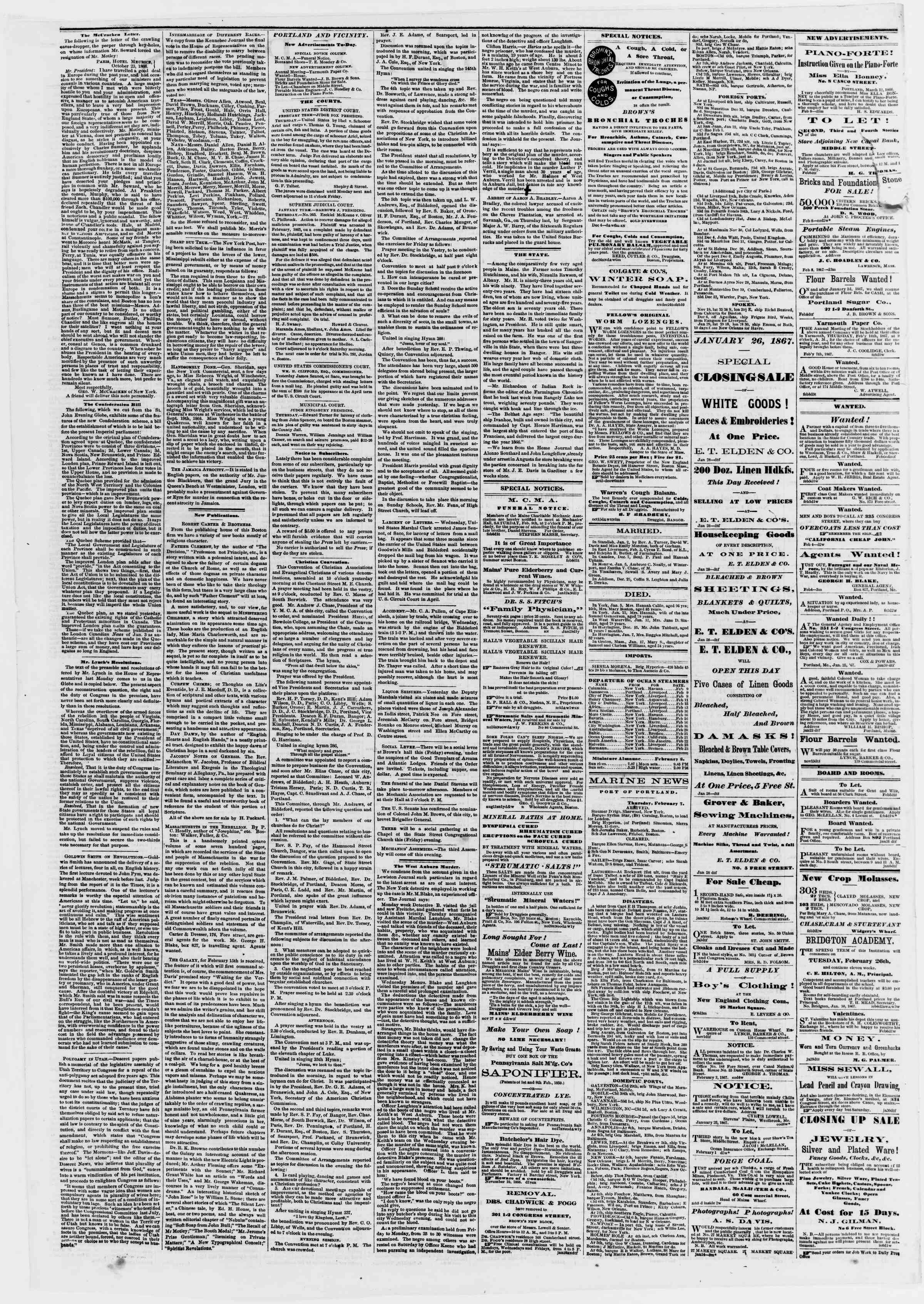 Newspaper of Portland Daily Press dated February 8, 1867 Page 2