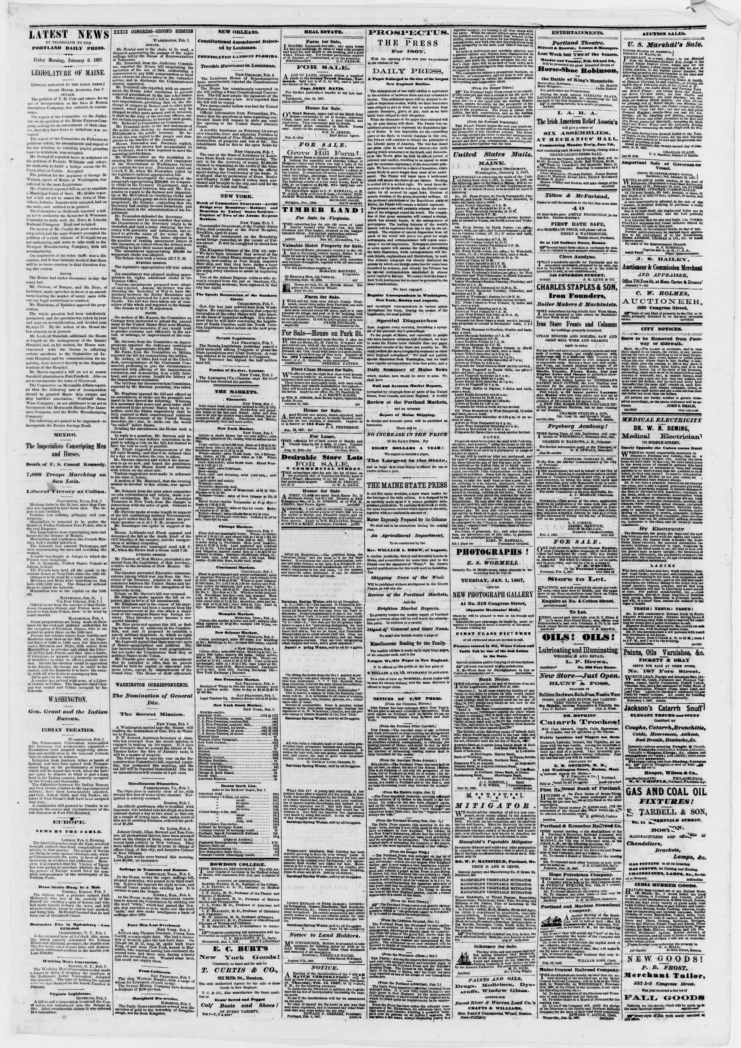 Newspaper of Portland Daily Press dated February 8, 1867 Page 3
