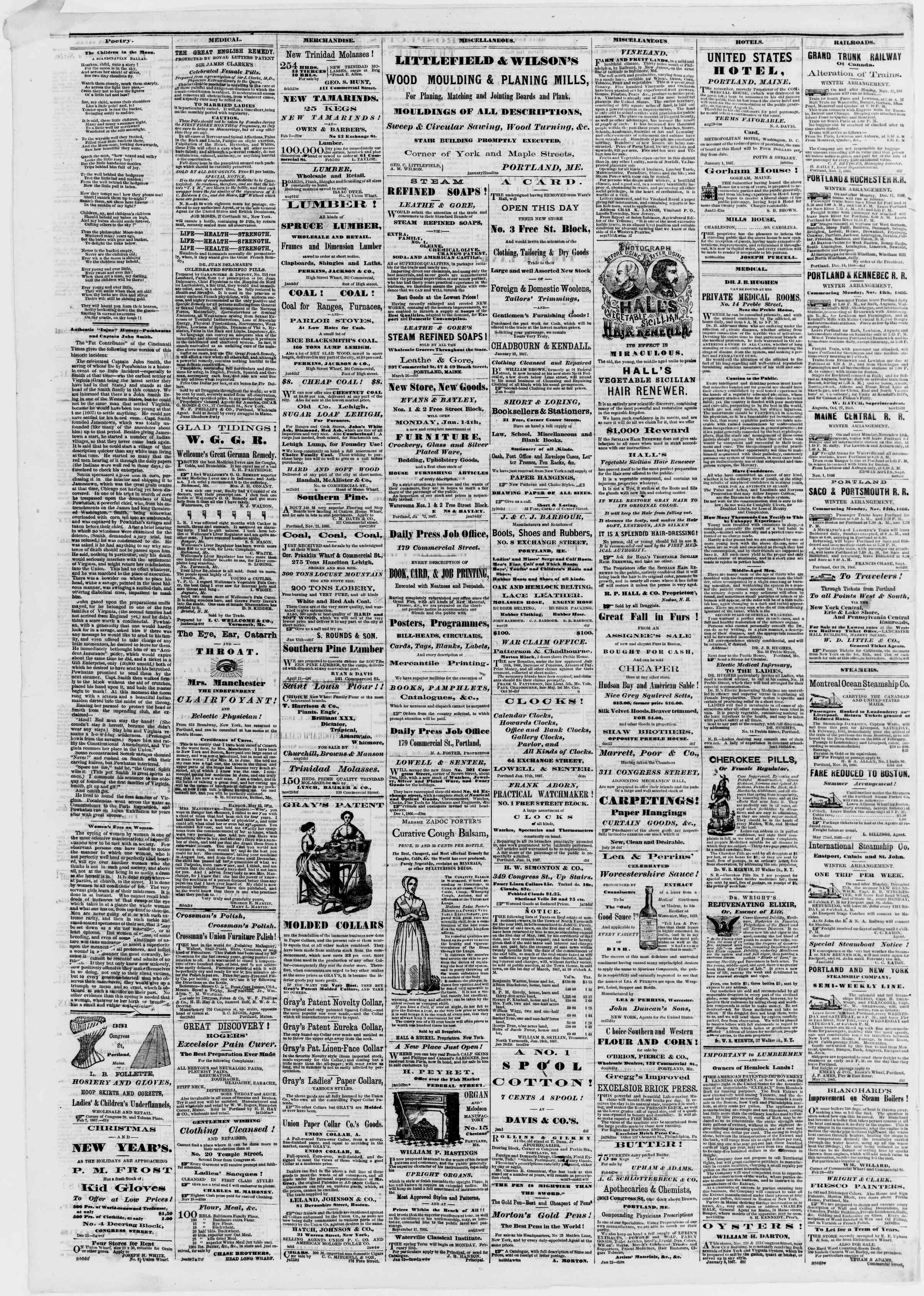 Newspaper of Portland Daily Press dated February 8, 1867 Page 4