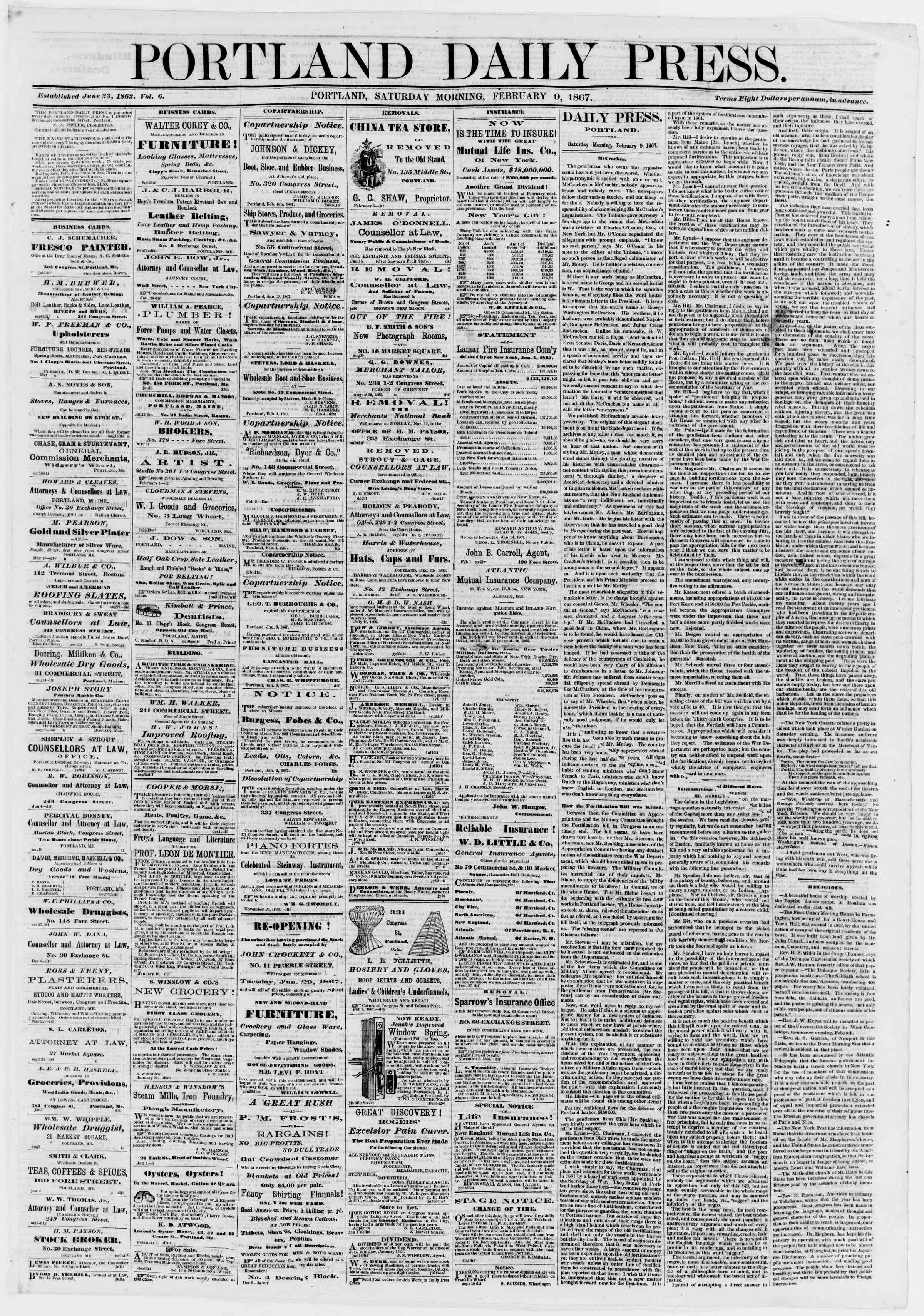 Newspaper of Portland Daily Press dated February 9, 1867 Page 1