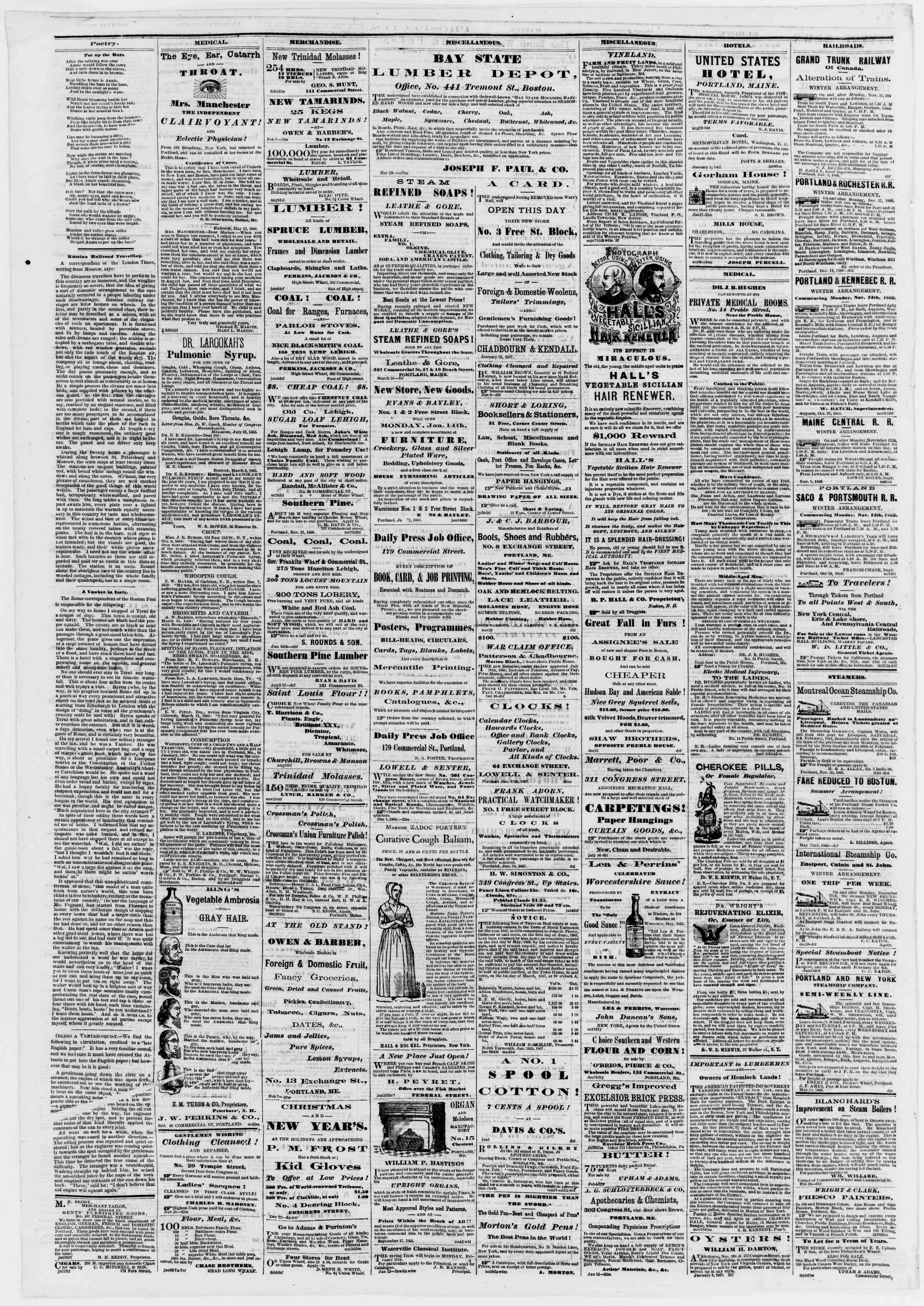 Newspaper of Portland Daily Press dated February 9, 1867 Page 4