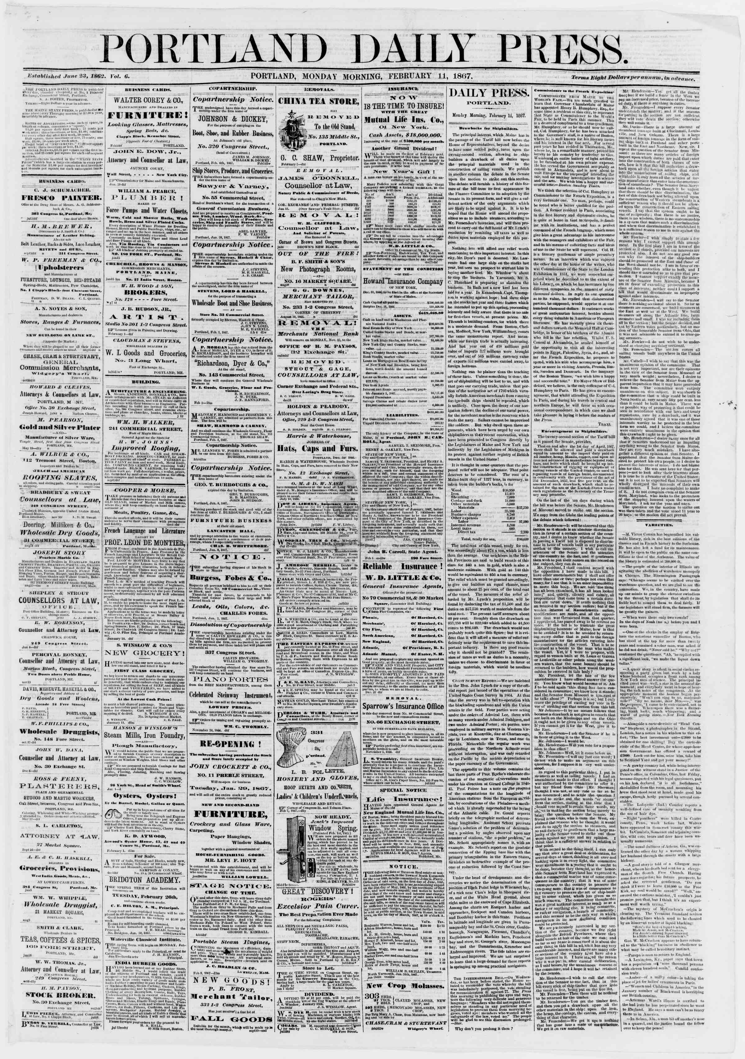 Newspaper of Portland Daily Press dated February 11, 1867 Page 1