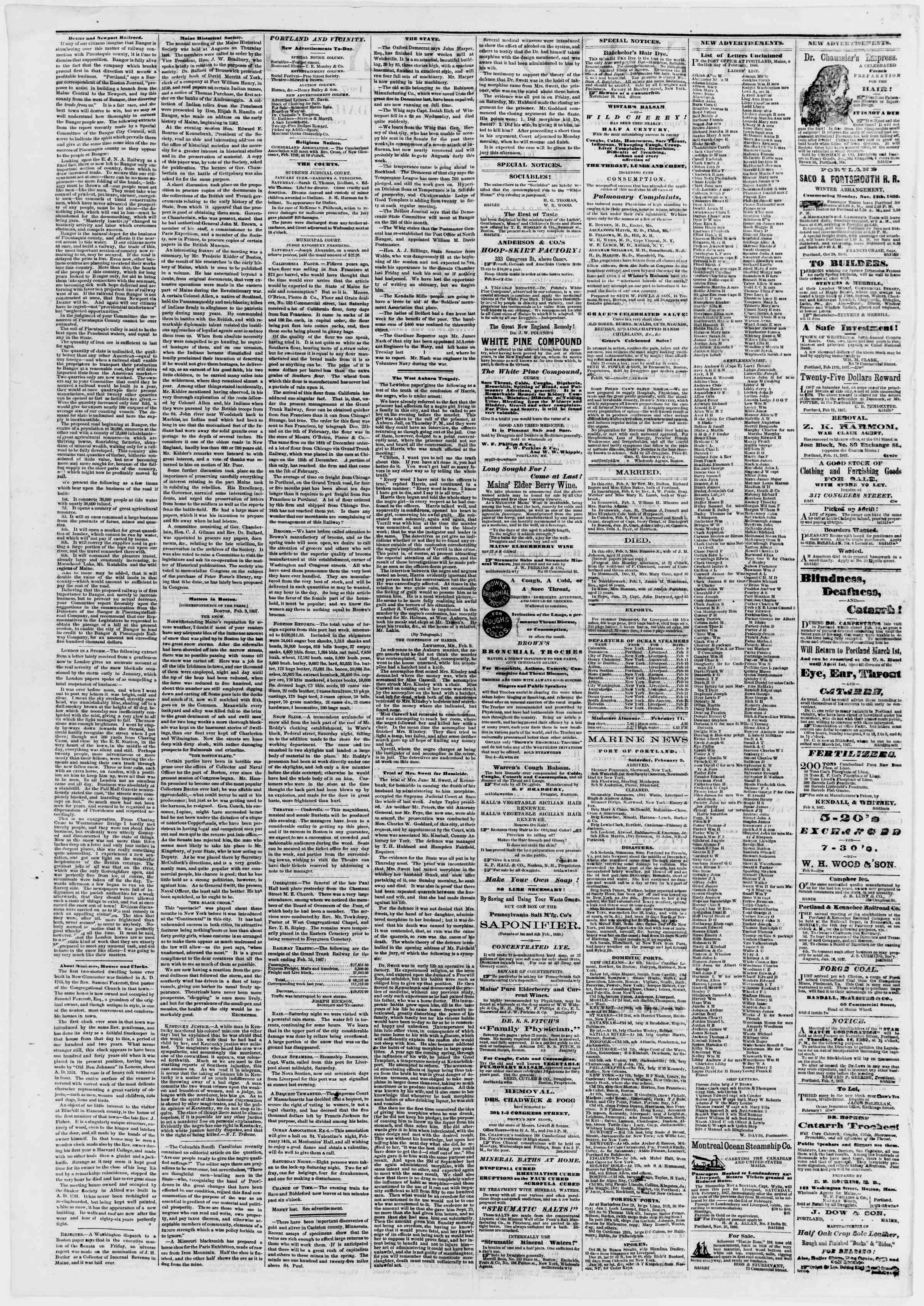 Newspaper of Portland Daily Press dated February 11, 1867 Page 2