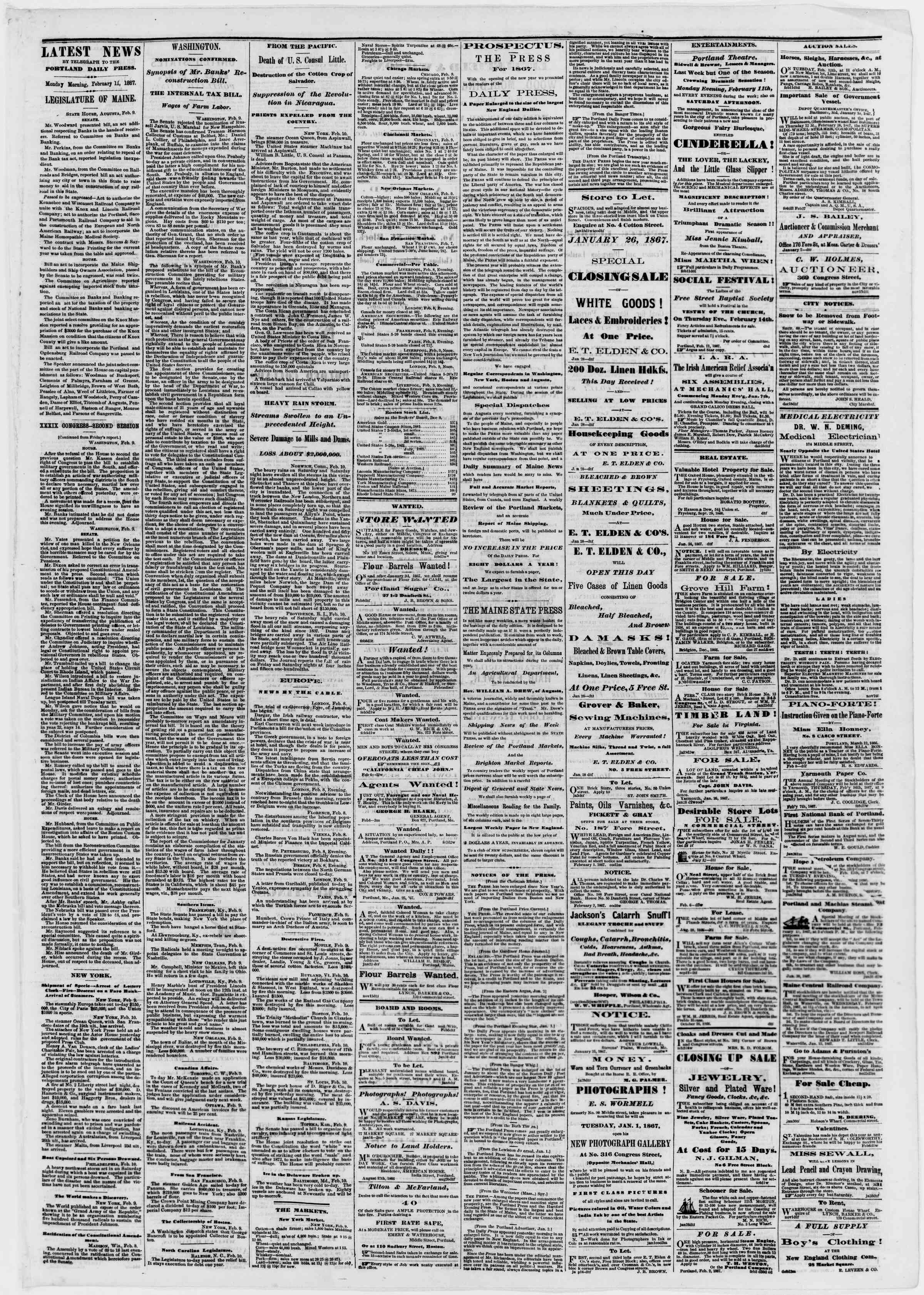 Newspaper of Portland Daily Press dated February 11, 1867 Page 3