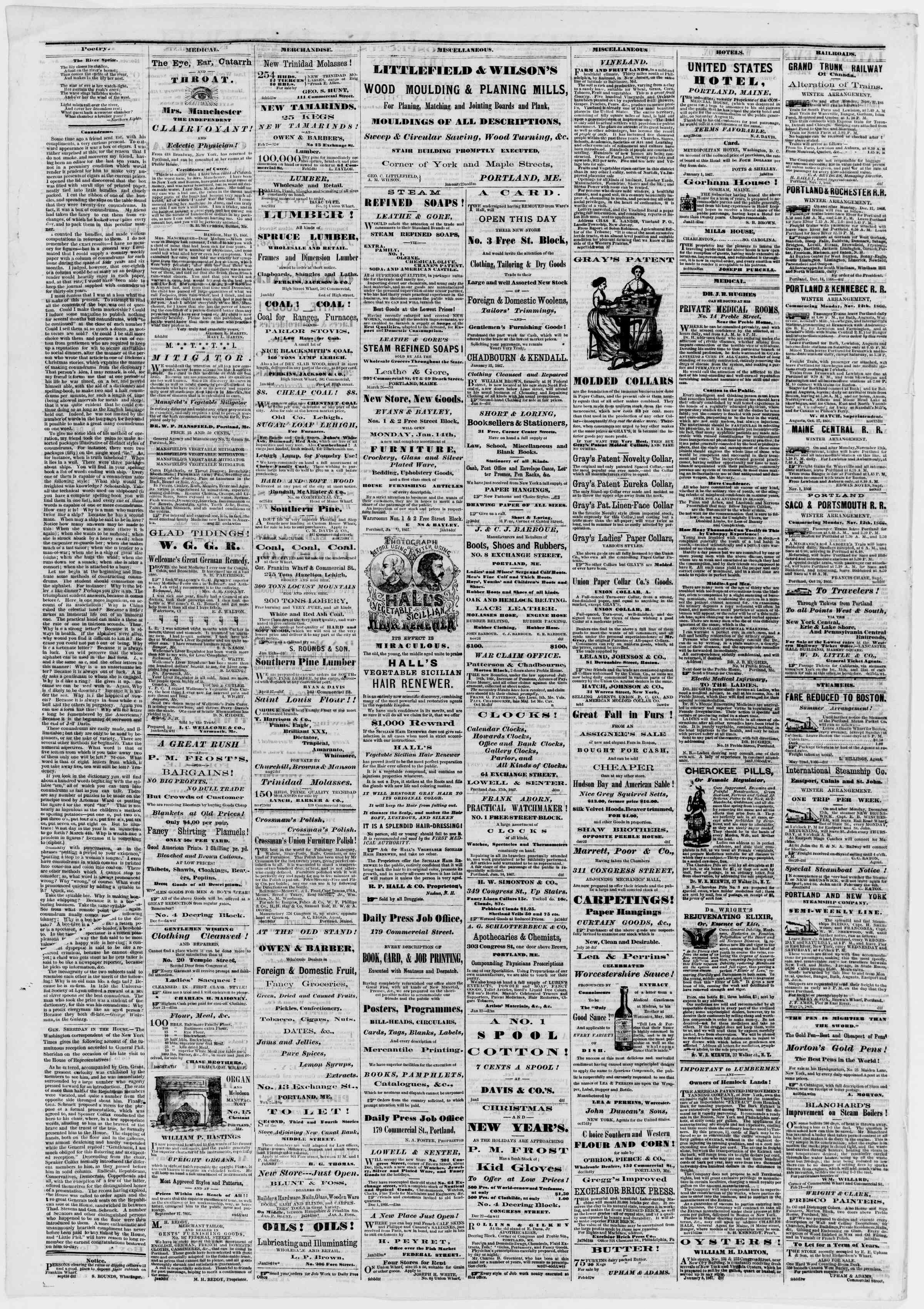 Newspaper of Portland Daily Press dated February 11, 1867 Page 4