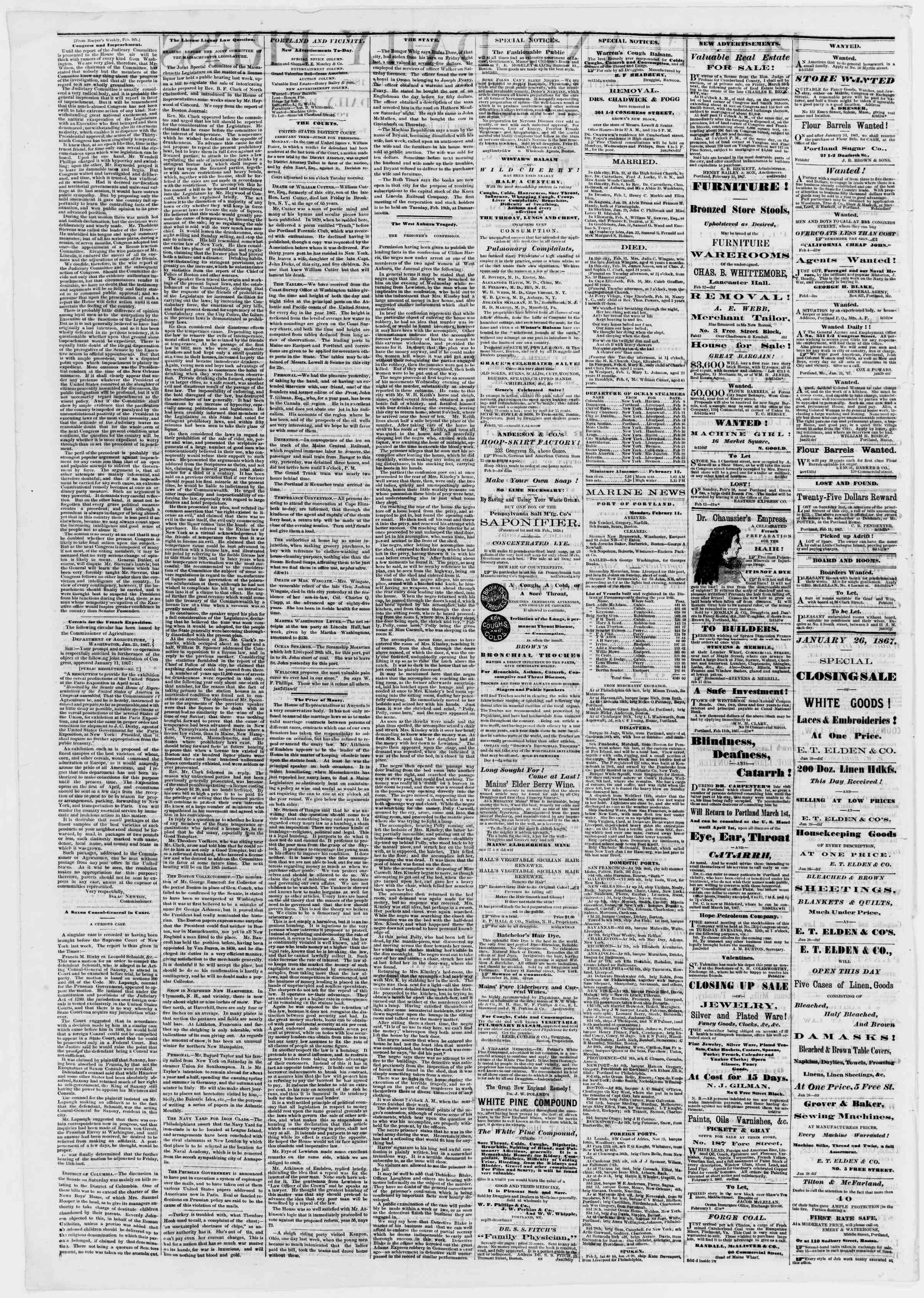 Newspaper of Portland Daily Press dated February 12, 1867 Page 2