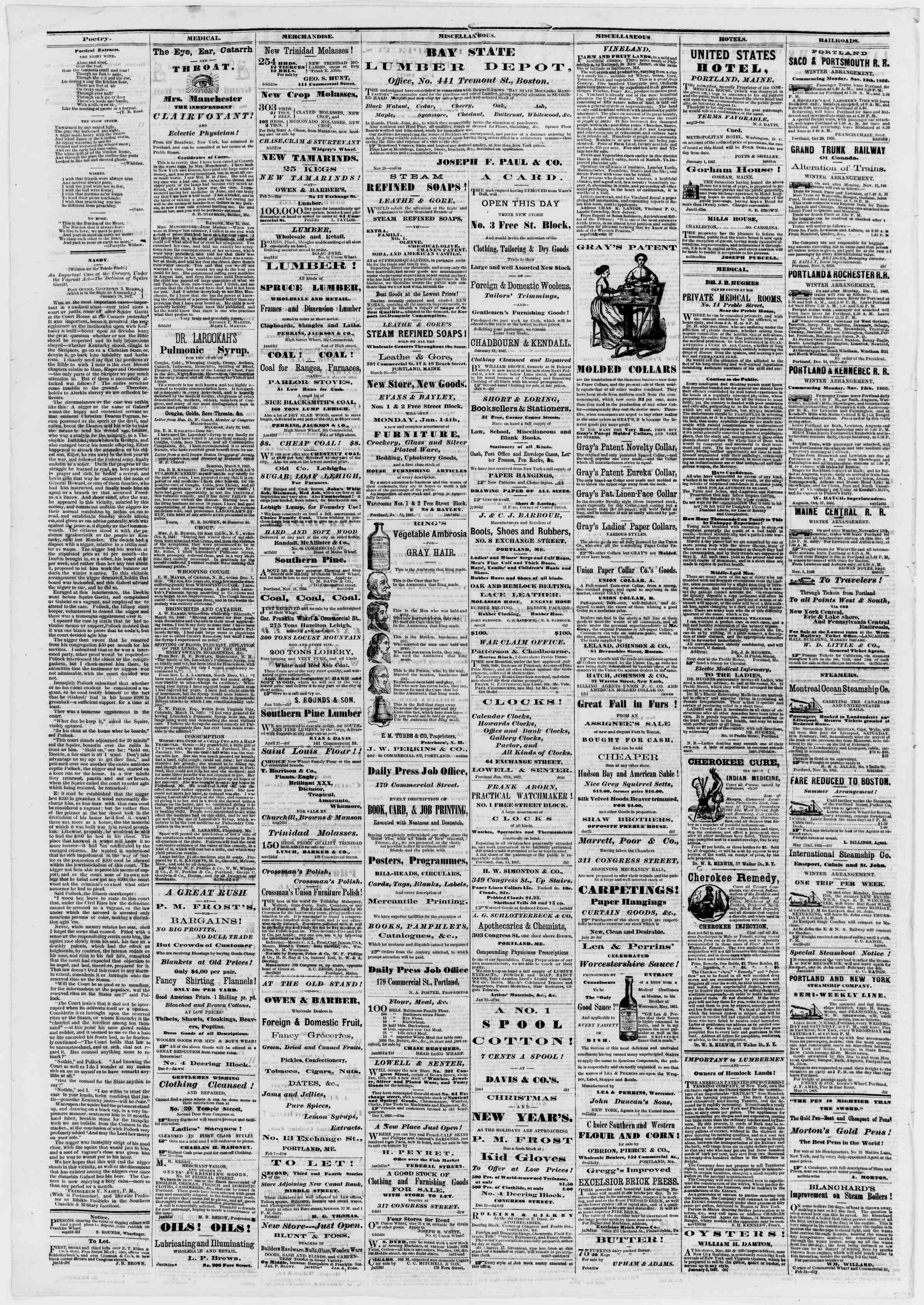 Newspaper of Portland Daily Press dated February 12, 1867 Page 4