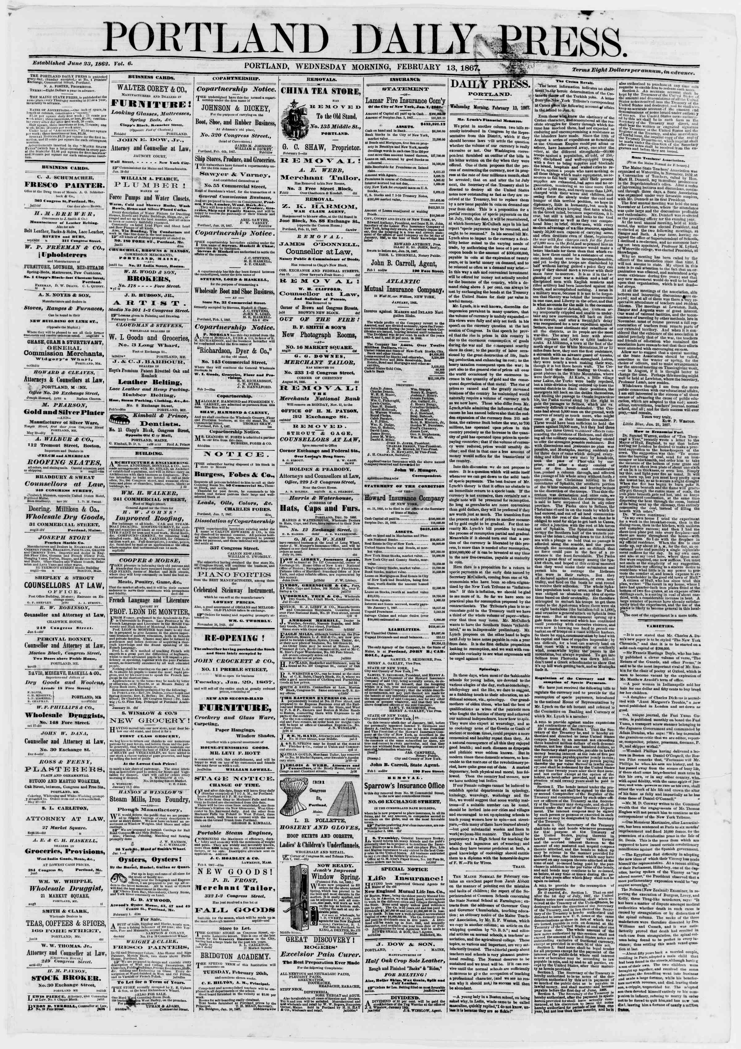 Newspaper of Portland Daily Press dated February 13, 1867 Page 1