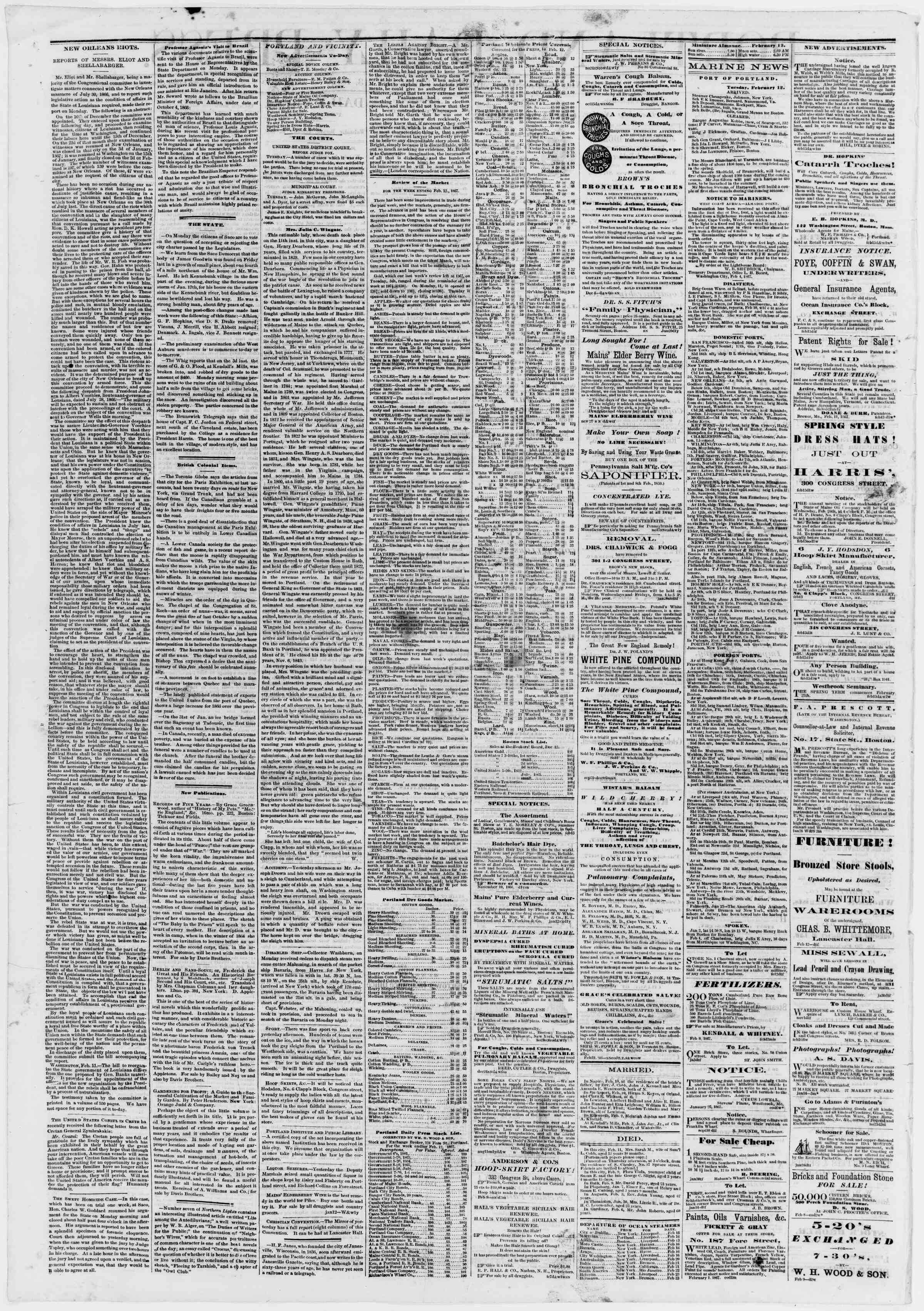 Newspaper of Portland Daily Press dated February 13, 1867 Page 2