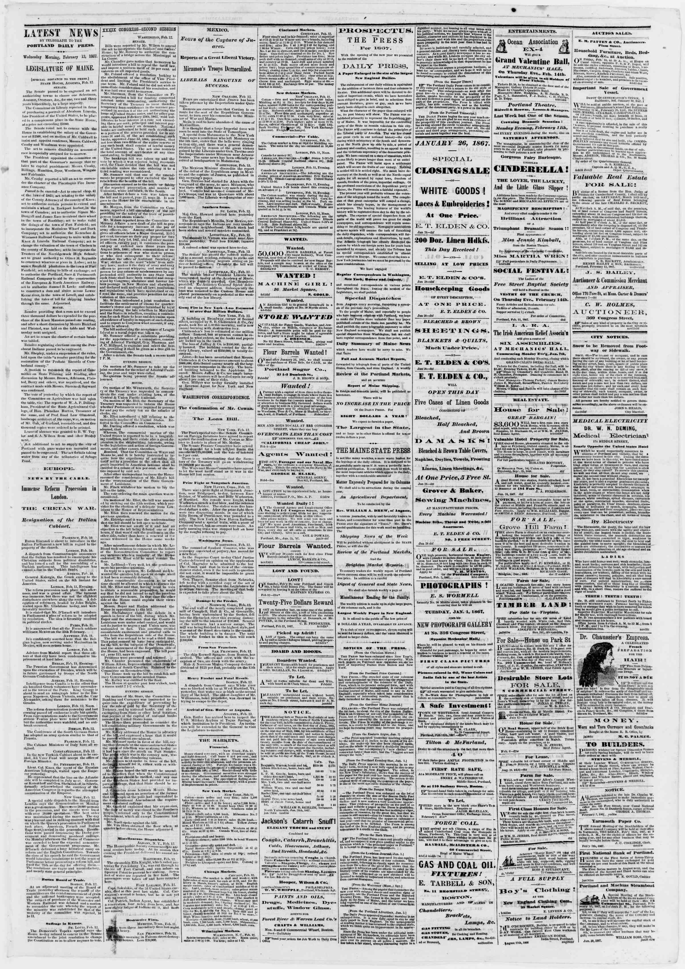 Newspaper of Portland Daily Press dated February 13, 1867 Page 3