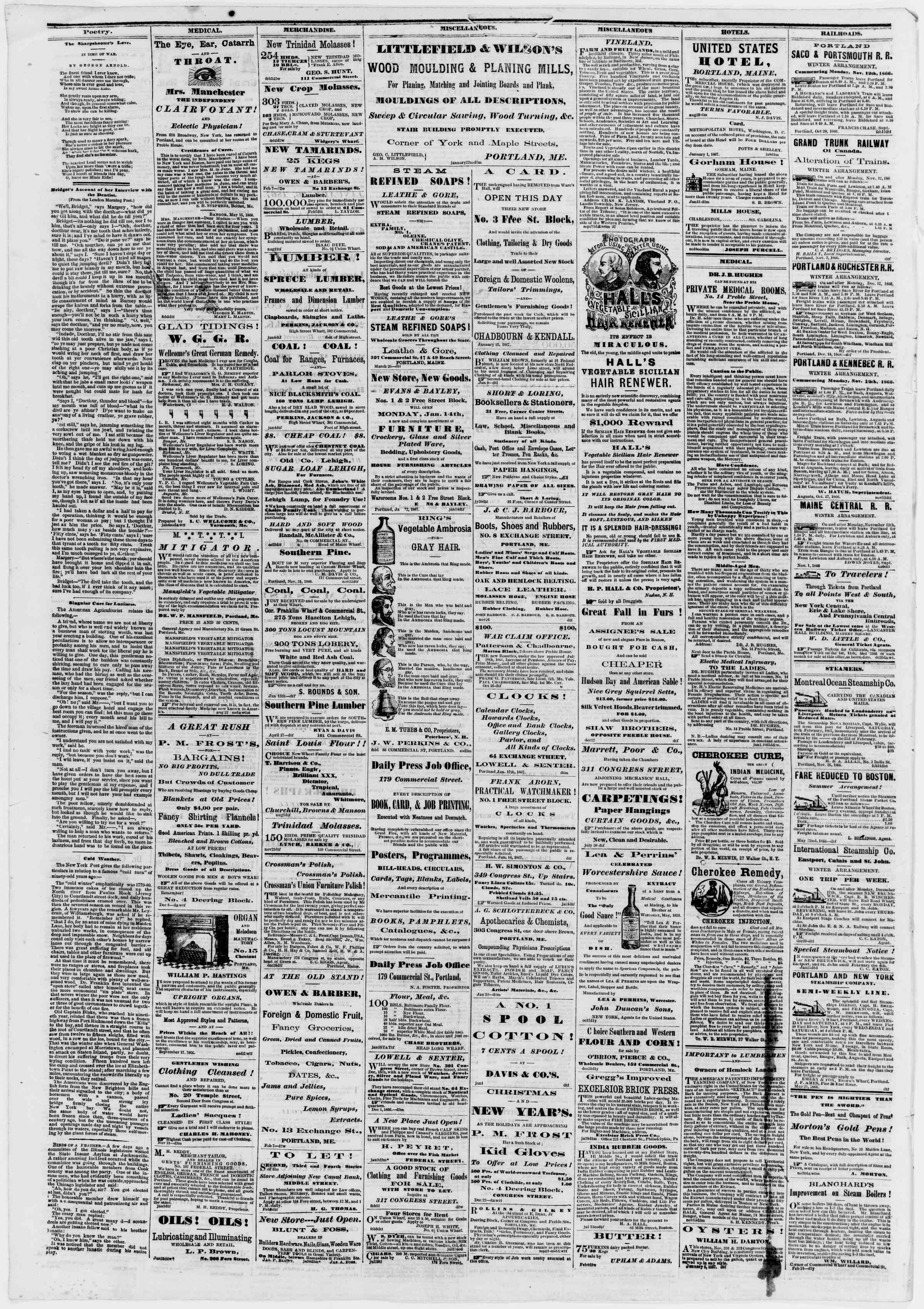 Newspaper of Portland Daily Press dated February 13, 1867 Page 4