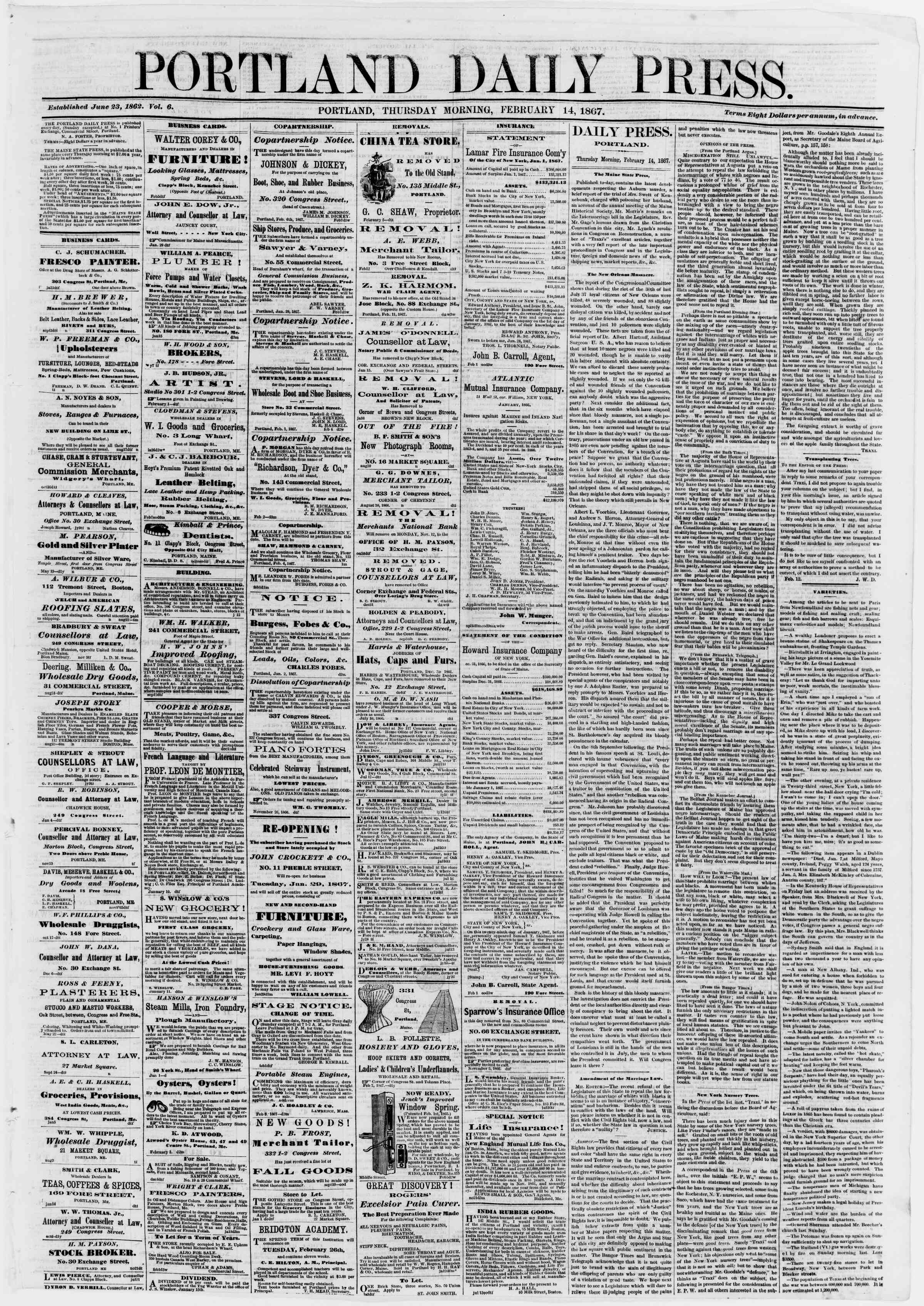 Newspaper of Portland Daily Press dated February 14, 1867 Page 1