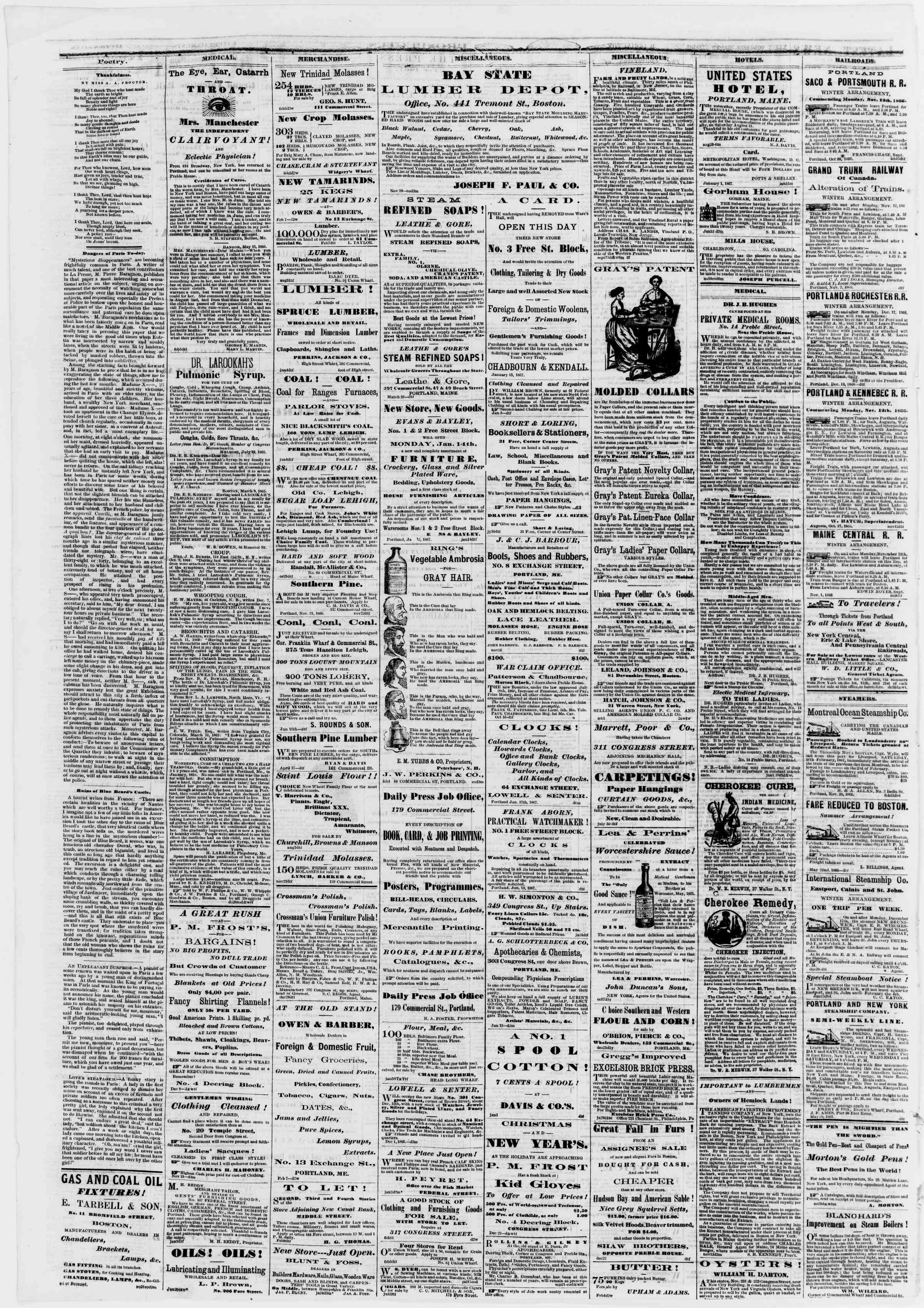 Newspaper of Portland Daily Press dated February 14, 1867 Page 4